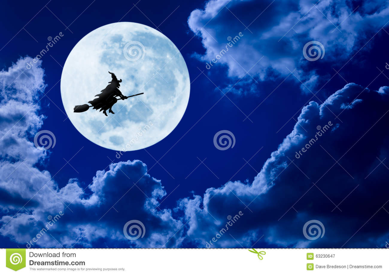 halloween witch flying moon sky royalty free stock photography - Flying Halloween Witch