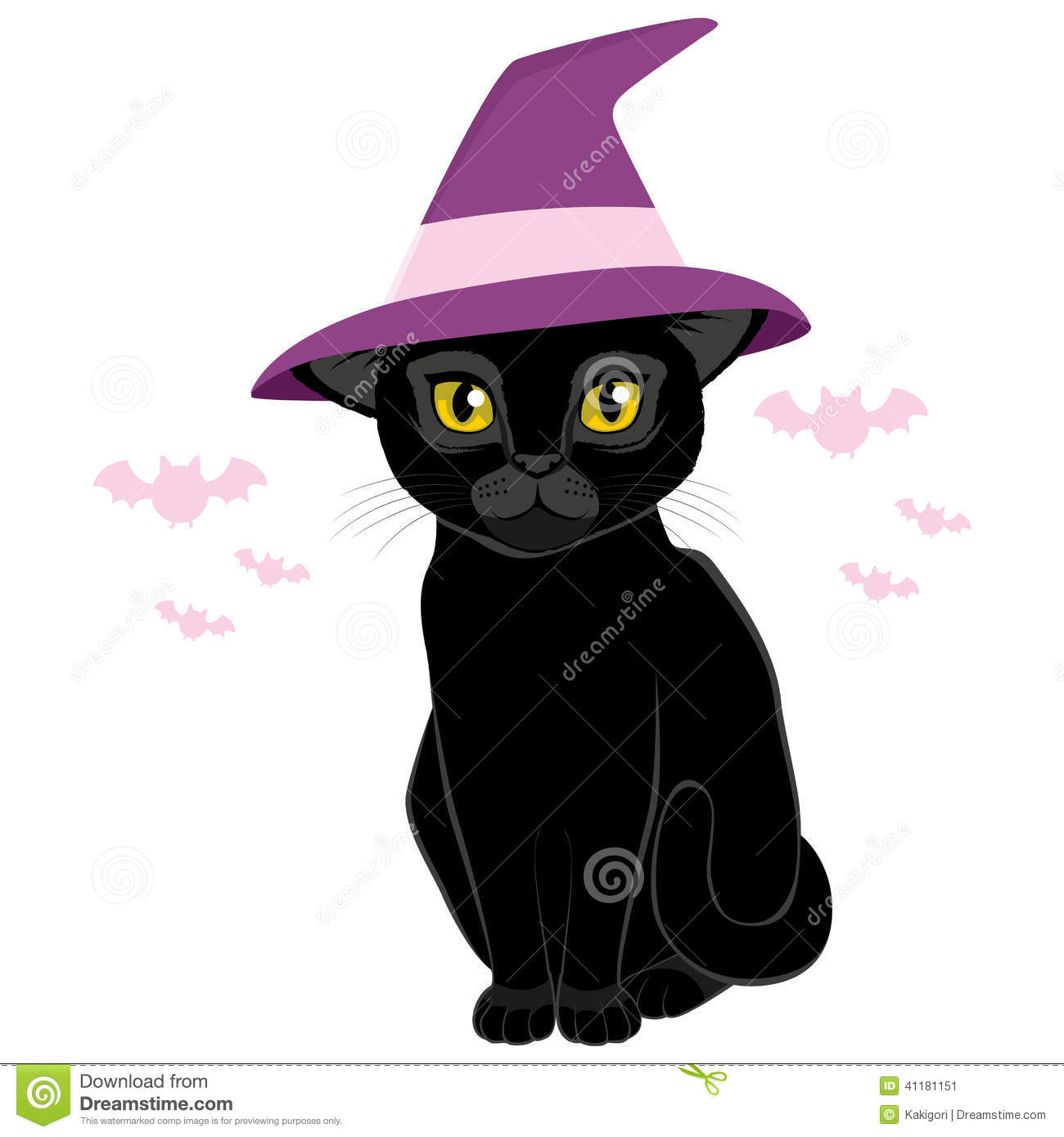 74f72c1a Halloween Witch Hat Black Cat Stock Vector - Illustration of wizard ...