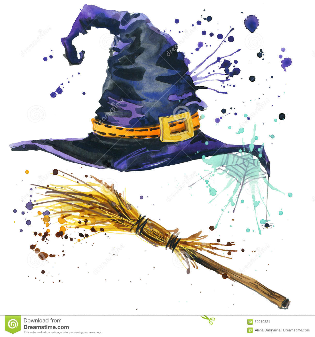 Halloween Witch Hat And Broom Witch Watercolor