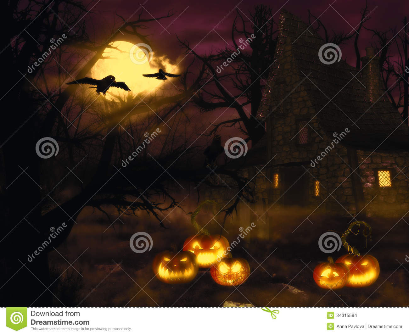 spooky witch house at night with halloween pumpkins in forest.