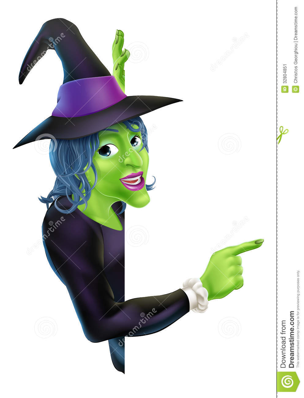 halloween witch pointing stock image