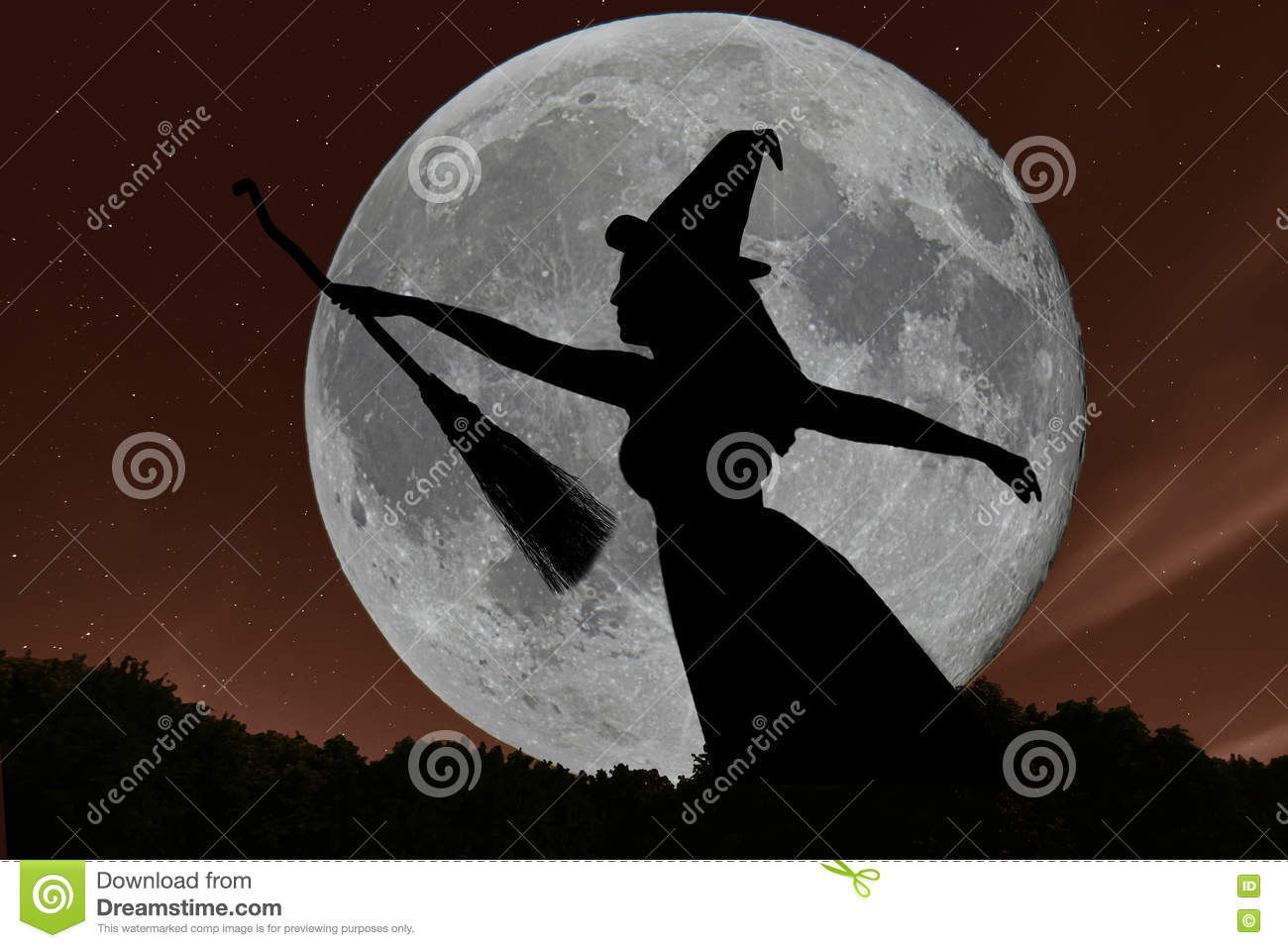 halloween witch silhouette flying with broomstick full moon stock