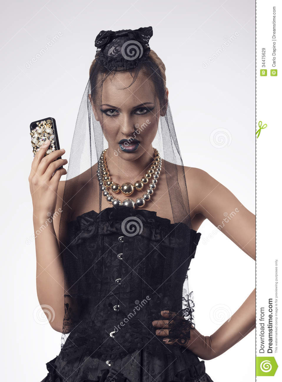 Halloween Woman With Smartphone Royalty Free Stock Images