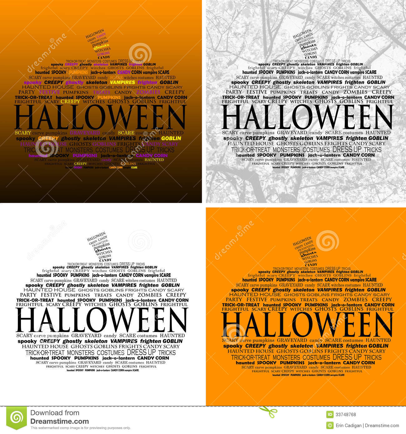 halloween word clouds set of 4 stock illustration