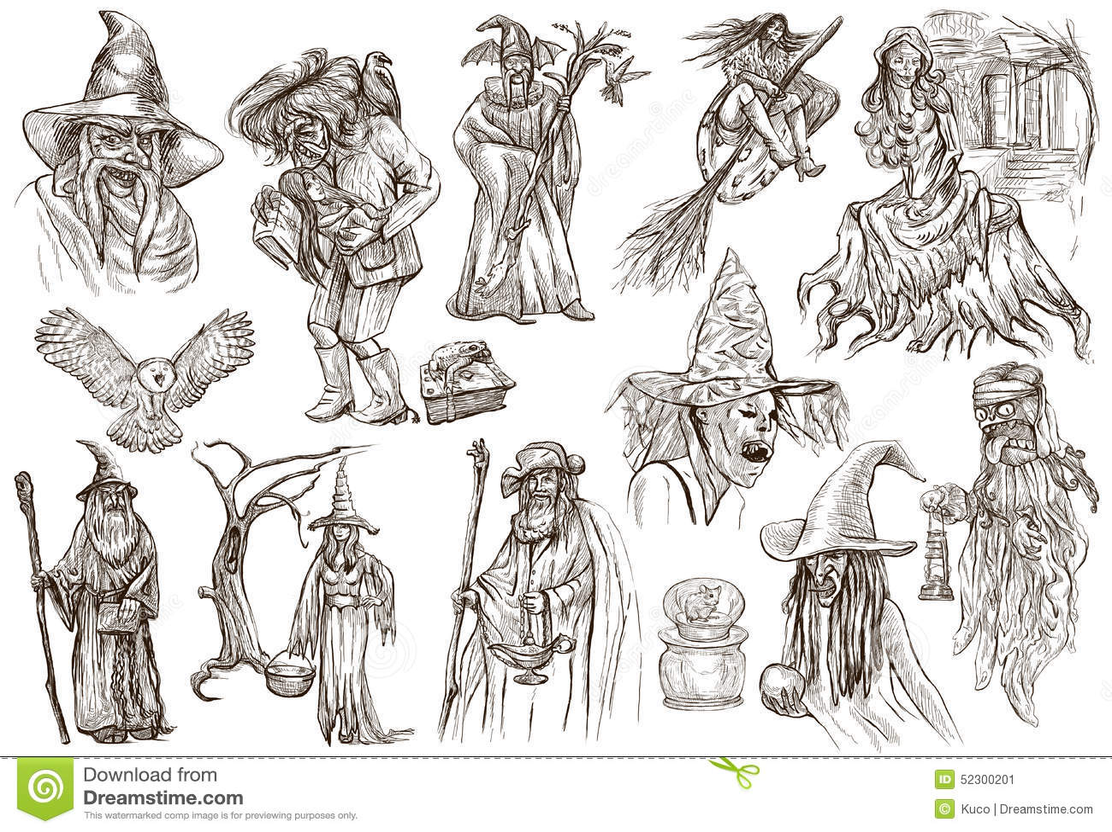 Halloween Zauberer Und Hexen Ein Hand Gezeichneter Weißer Satz