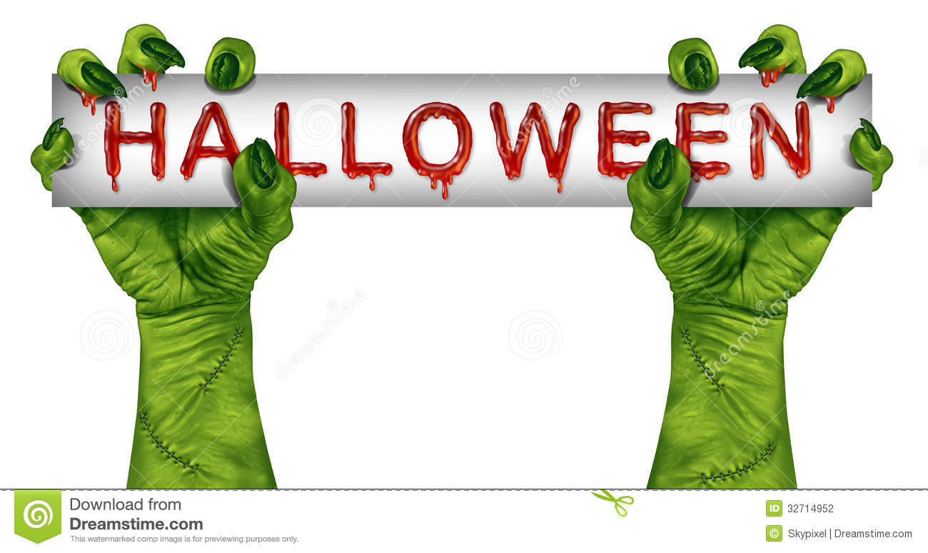 Zombie Holding Sign Halloween Zombie Sign
