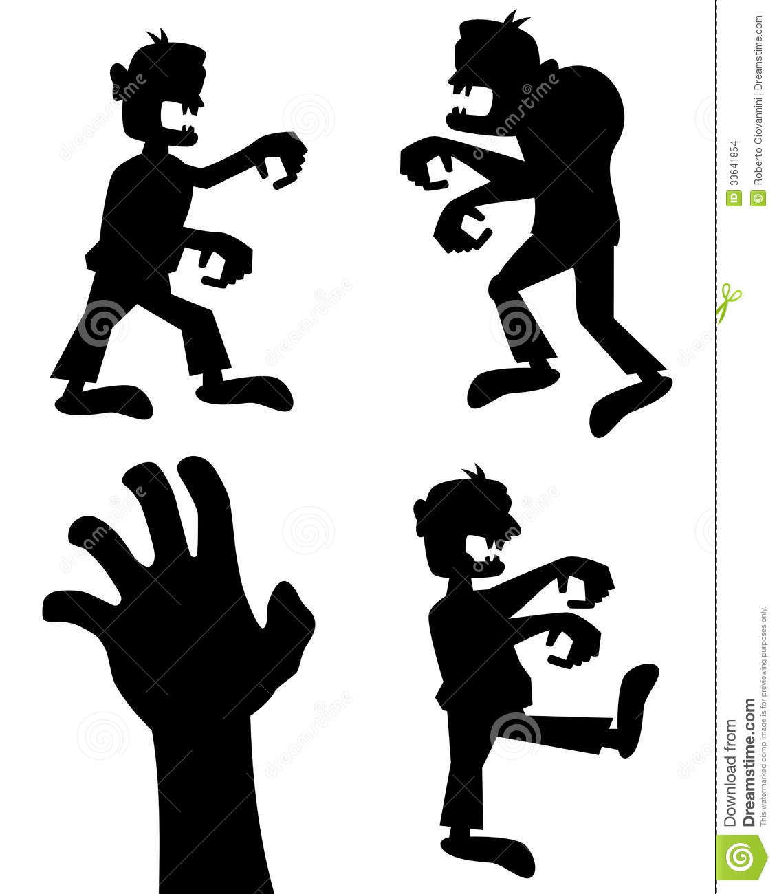 halloween zombie silhouettes set stock vector illustration of