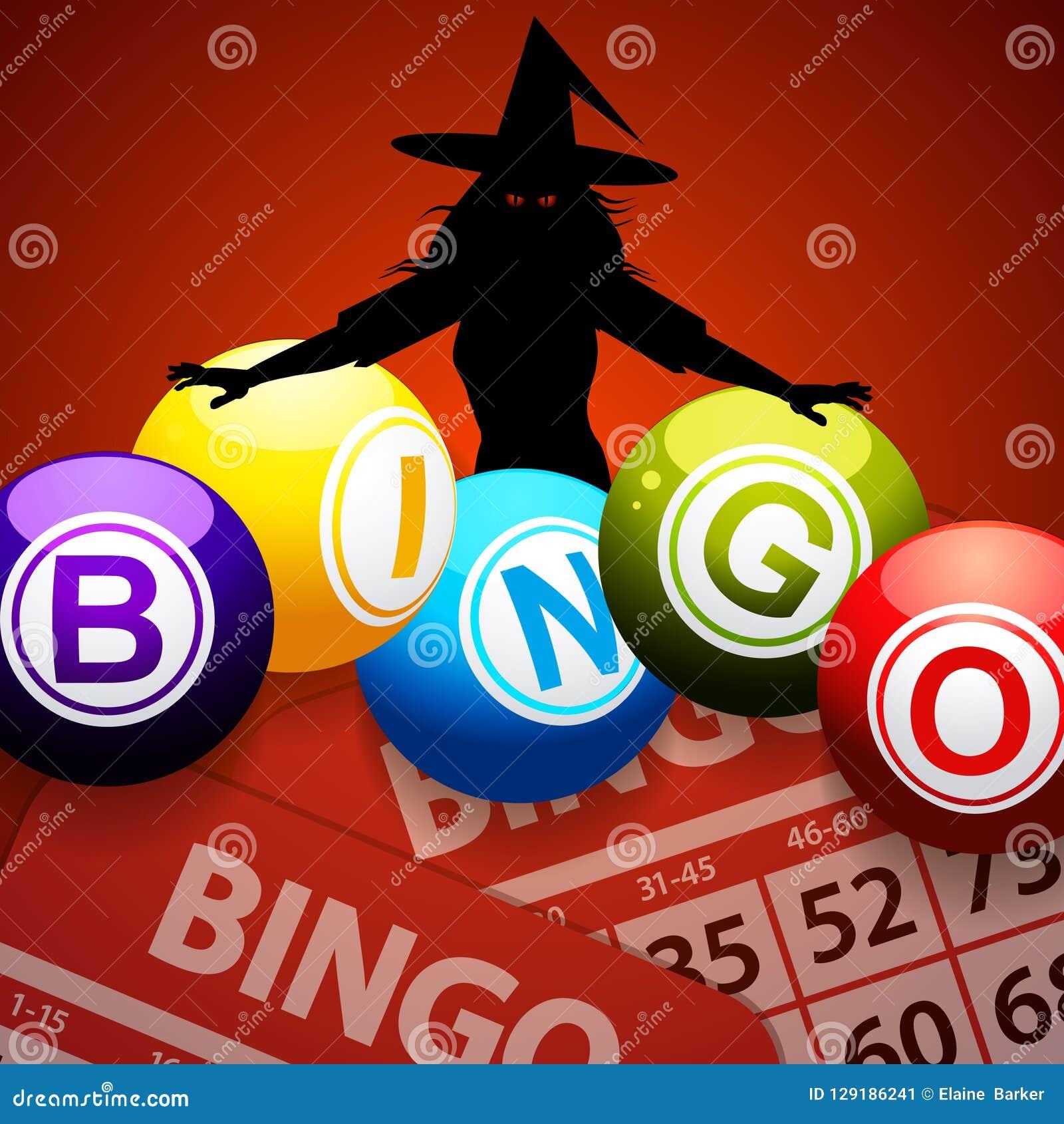 Halloweenowe bingo piłki i straszna czarownica
