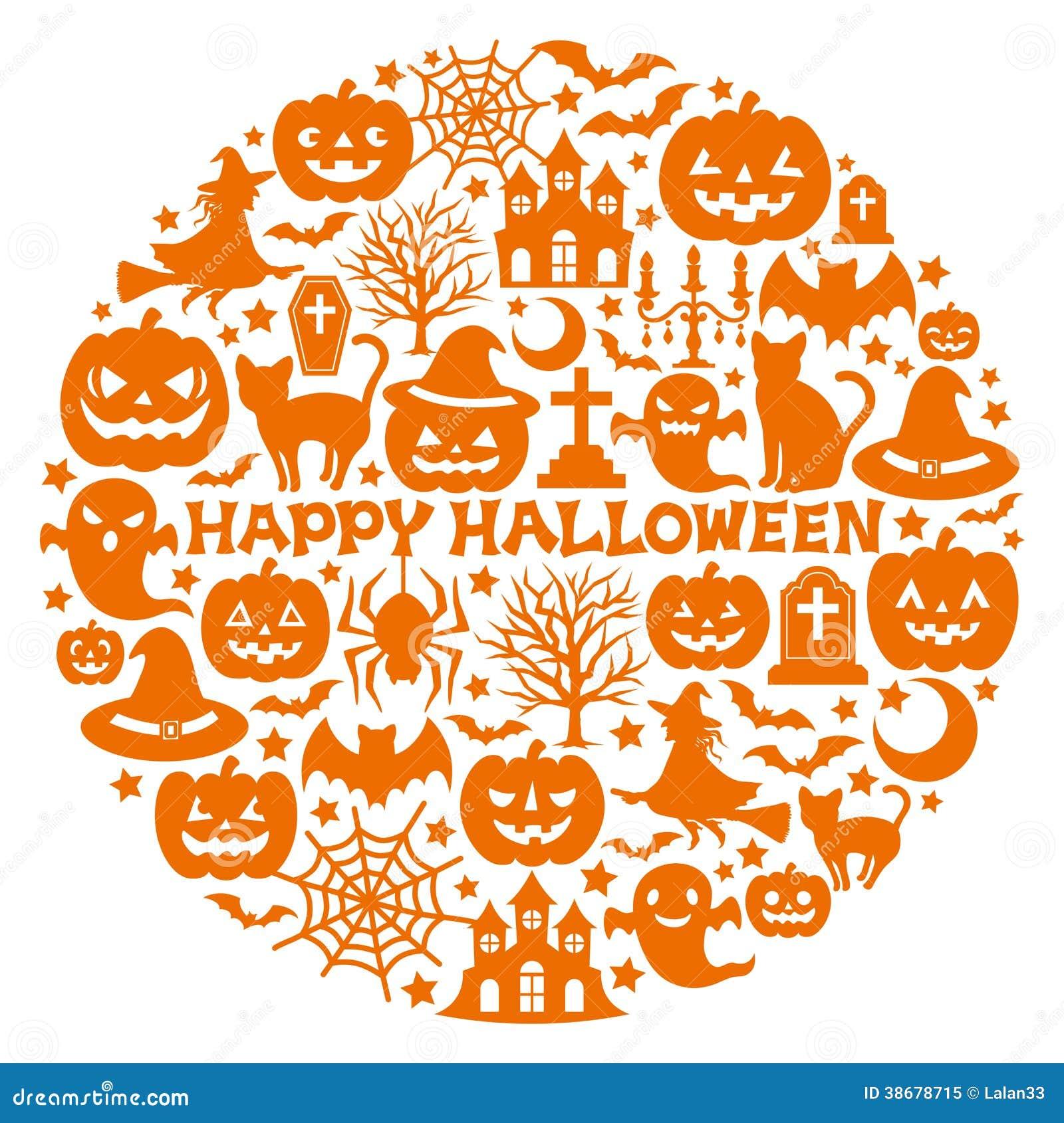Halloweenowe ikony w okręgu.