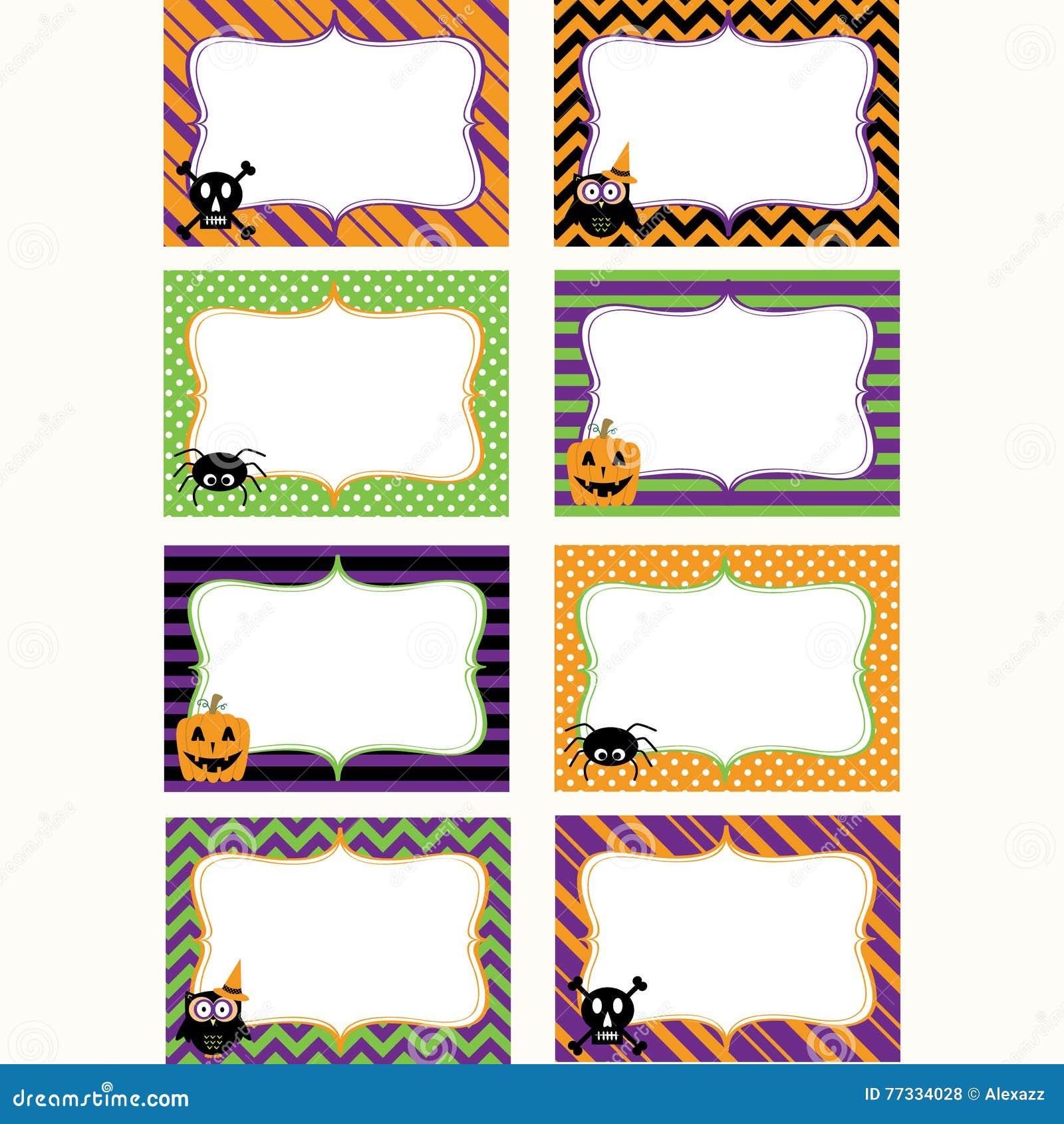 Halloweenowe Printable etykietki Ustawiać Fotografii rama, prezent etykietki, zaproszenie