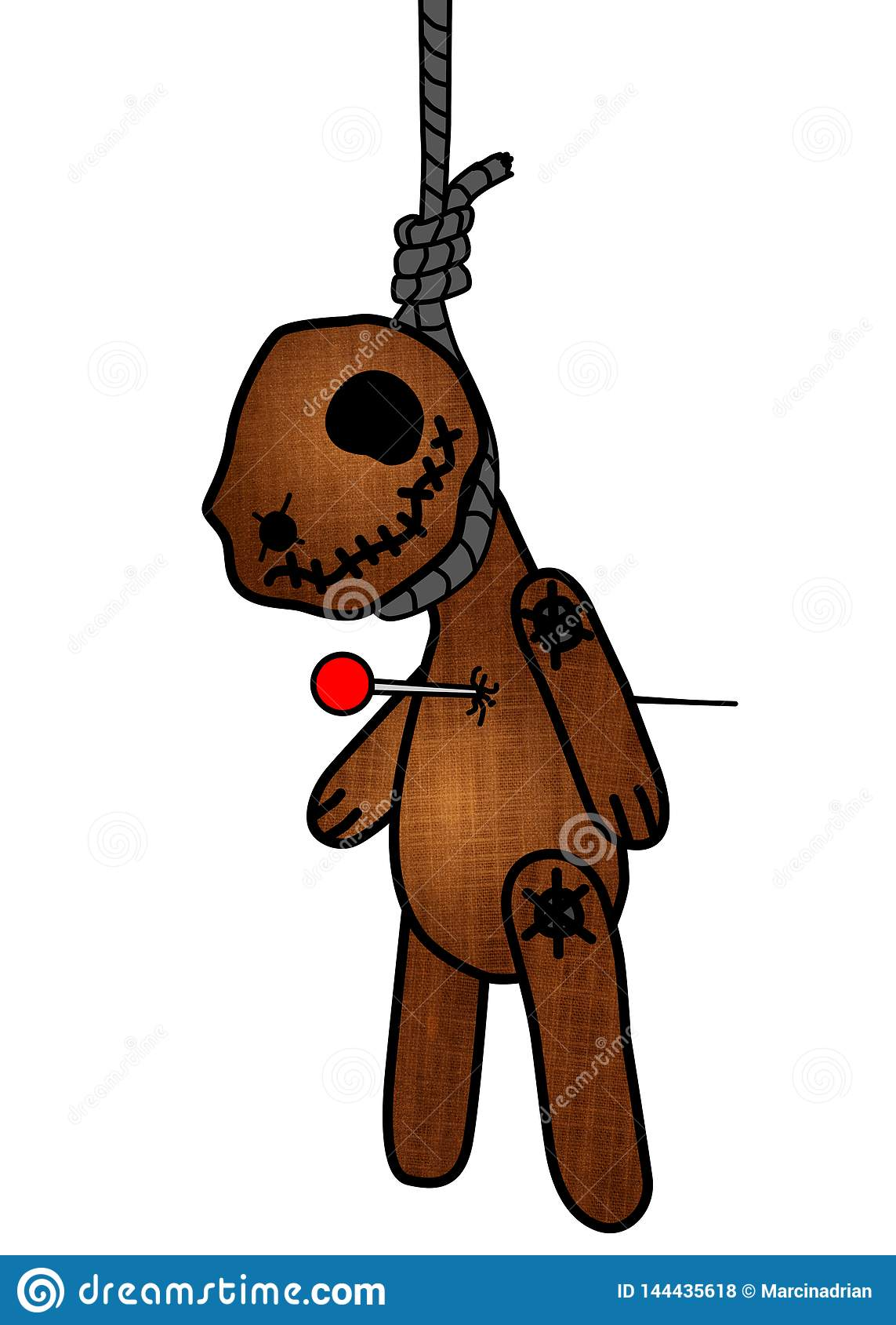 Halloweenowego horror duchowo?ci wudu Milutki nied?wied?, lala przebijaj?ca szpilkami/przebija? obwieszenie na powieszeniach Kont