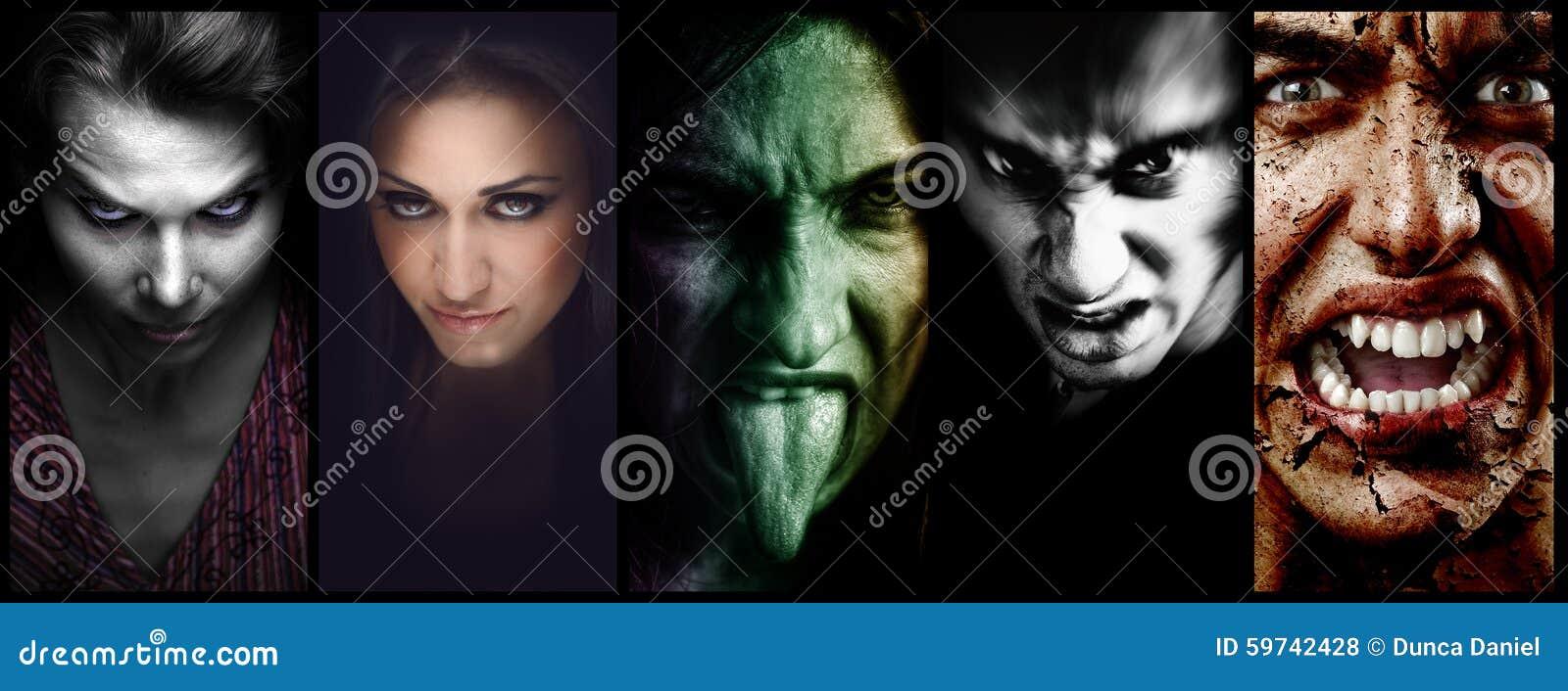 Halloweenowego kolażu † złe straszne twarze kobiety i mężczyzna