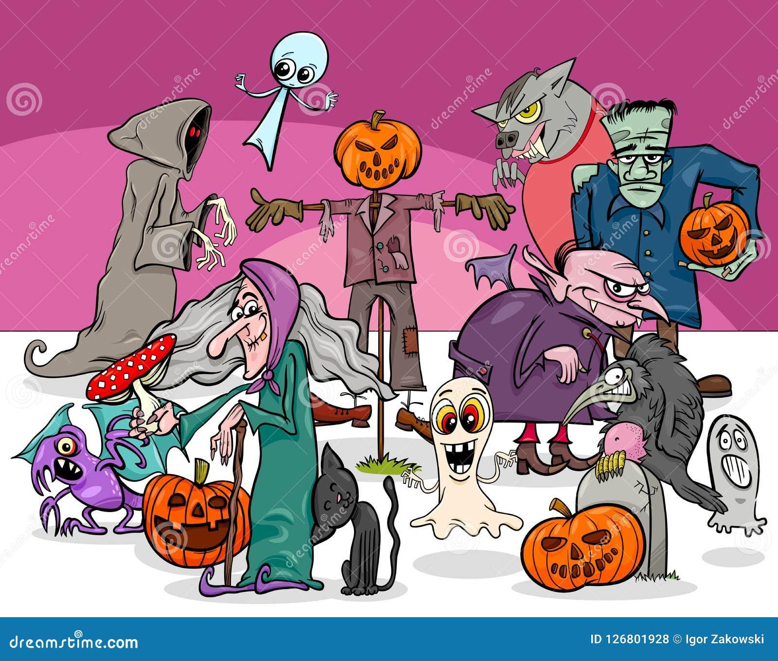 Halloweenowej wakacyjnej kreskówki charakterów straszna grupa