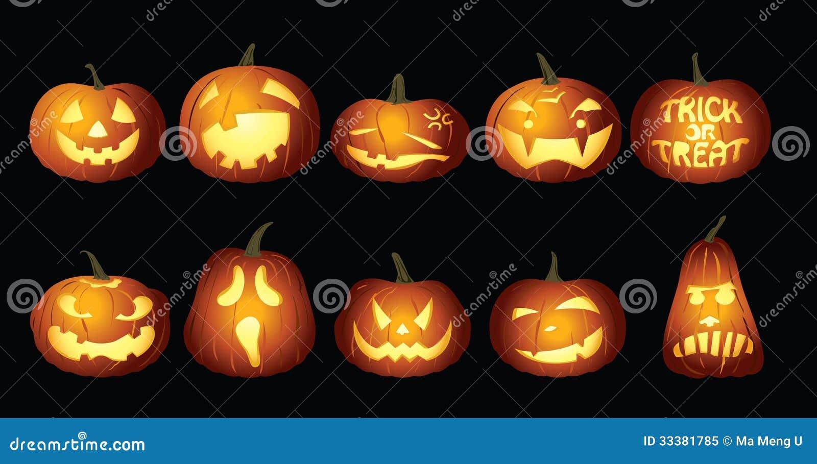 Halloweenowi Dyniowi lampiony przy nocą