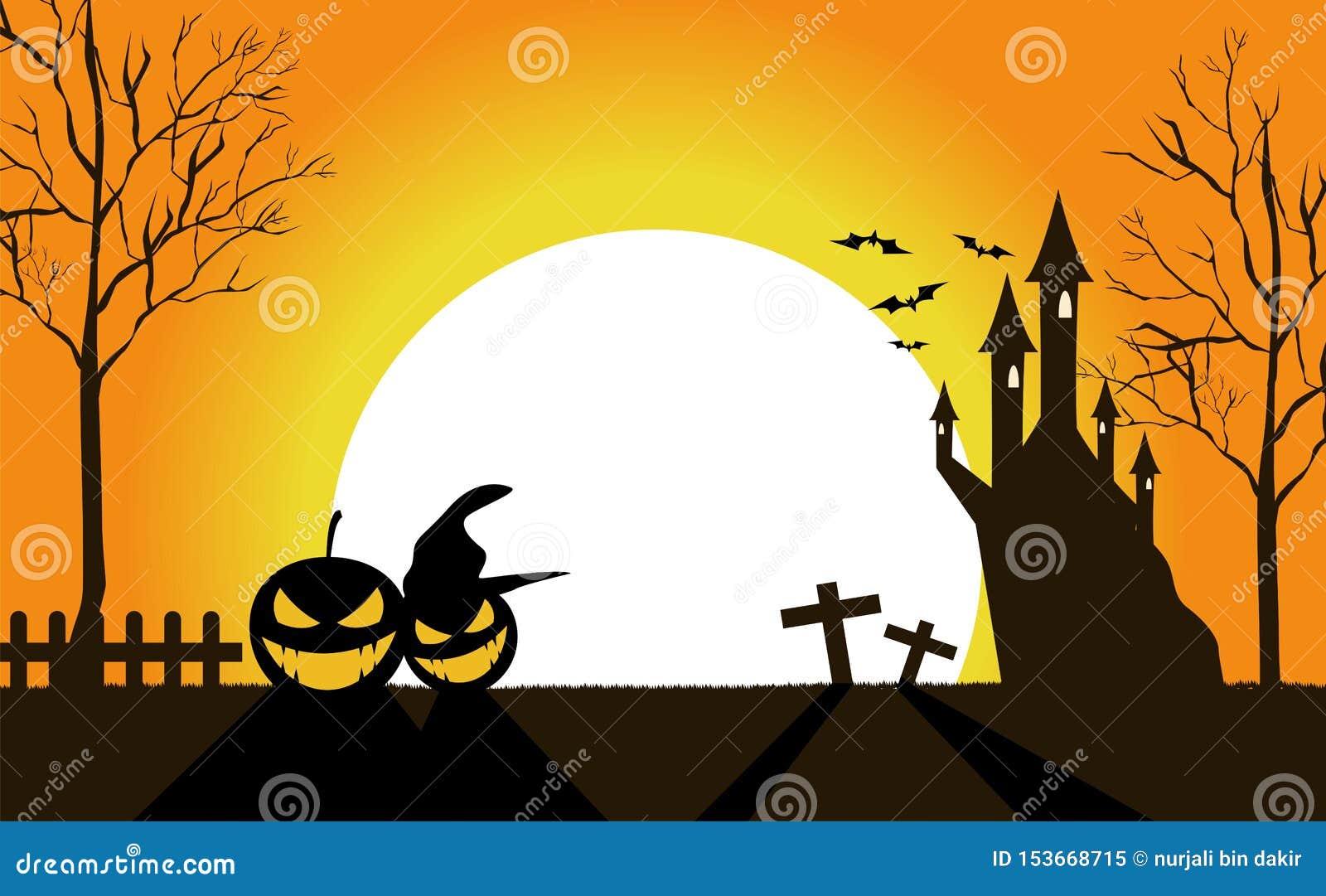 Halloweenowi pumkins przy noc wektorem