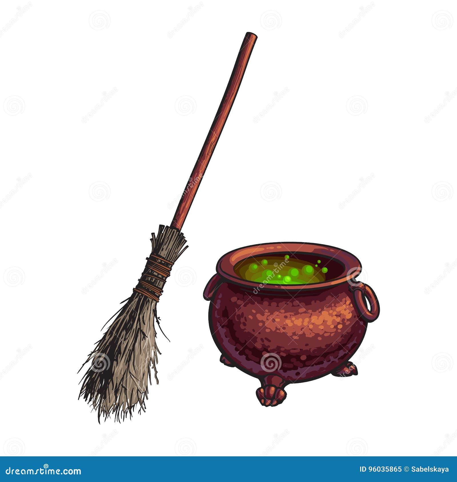 Halloweenowi symbole - czarownica kocioł z wrzącą napoju miłosnego i gałązki miotłą