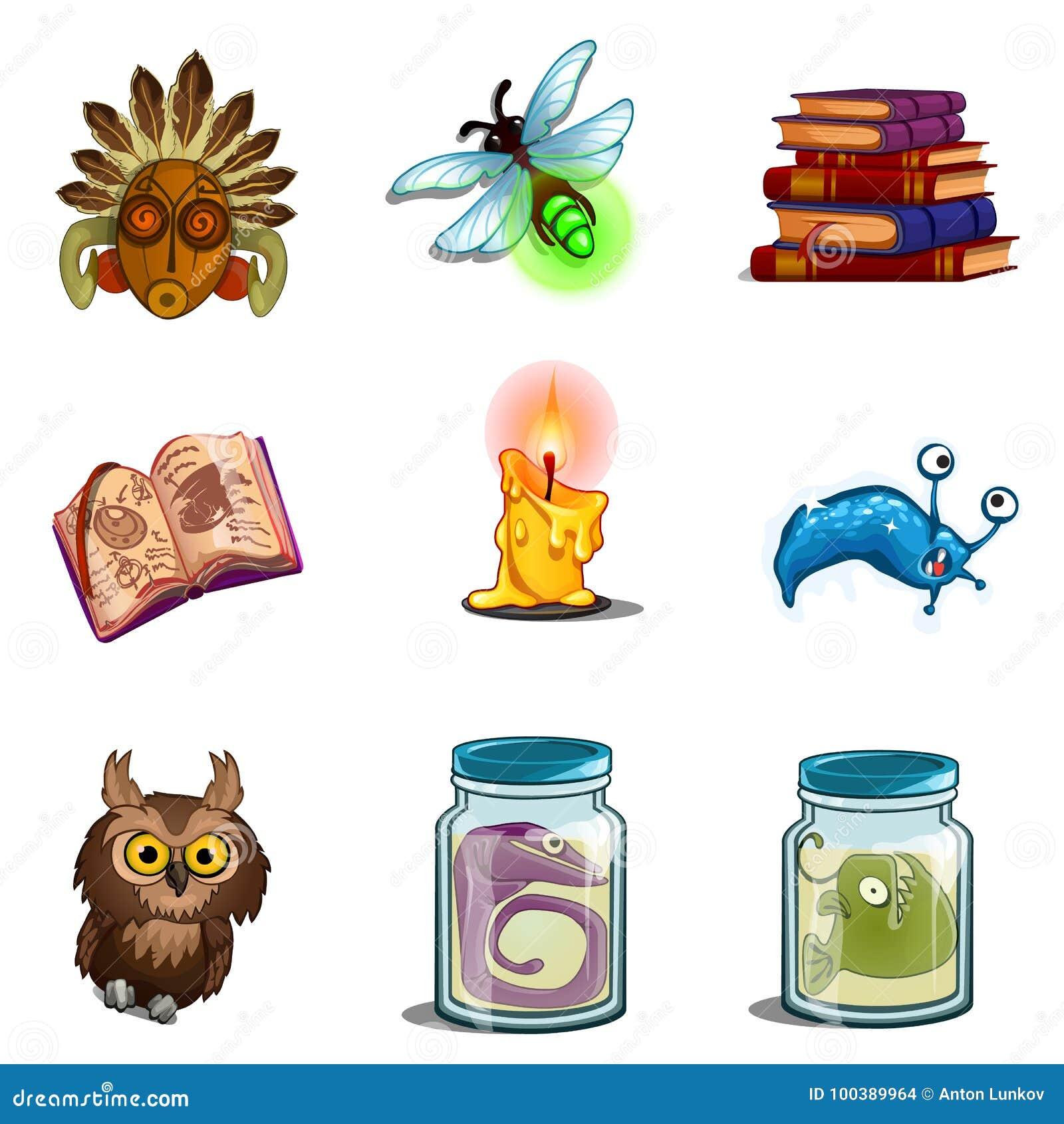 Halloweenowi symbole - sowa, maska, insekt, książka czary, formalina mutant, świeczka Wektorowe ikony ustawiać odizolowywać na bi