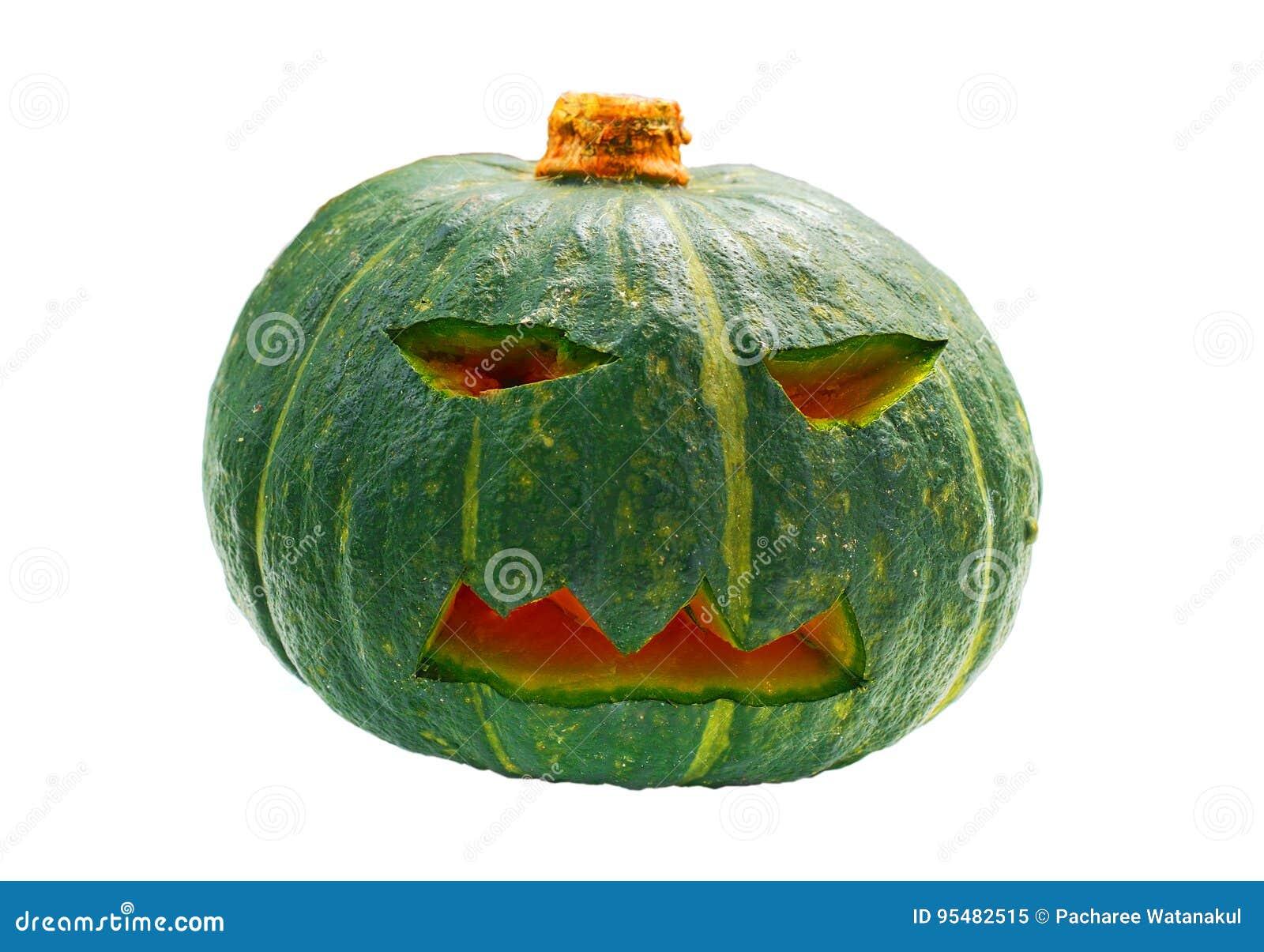 Halloweenowy bani głowy lampion odizolowywający na białym tle