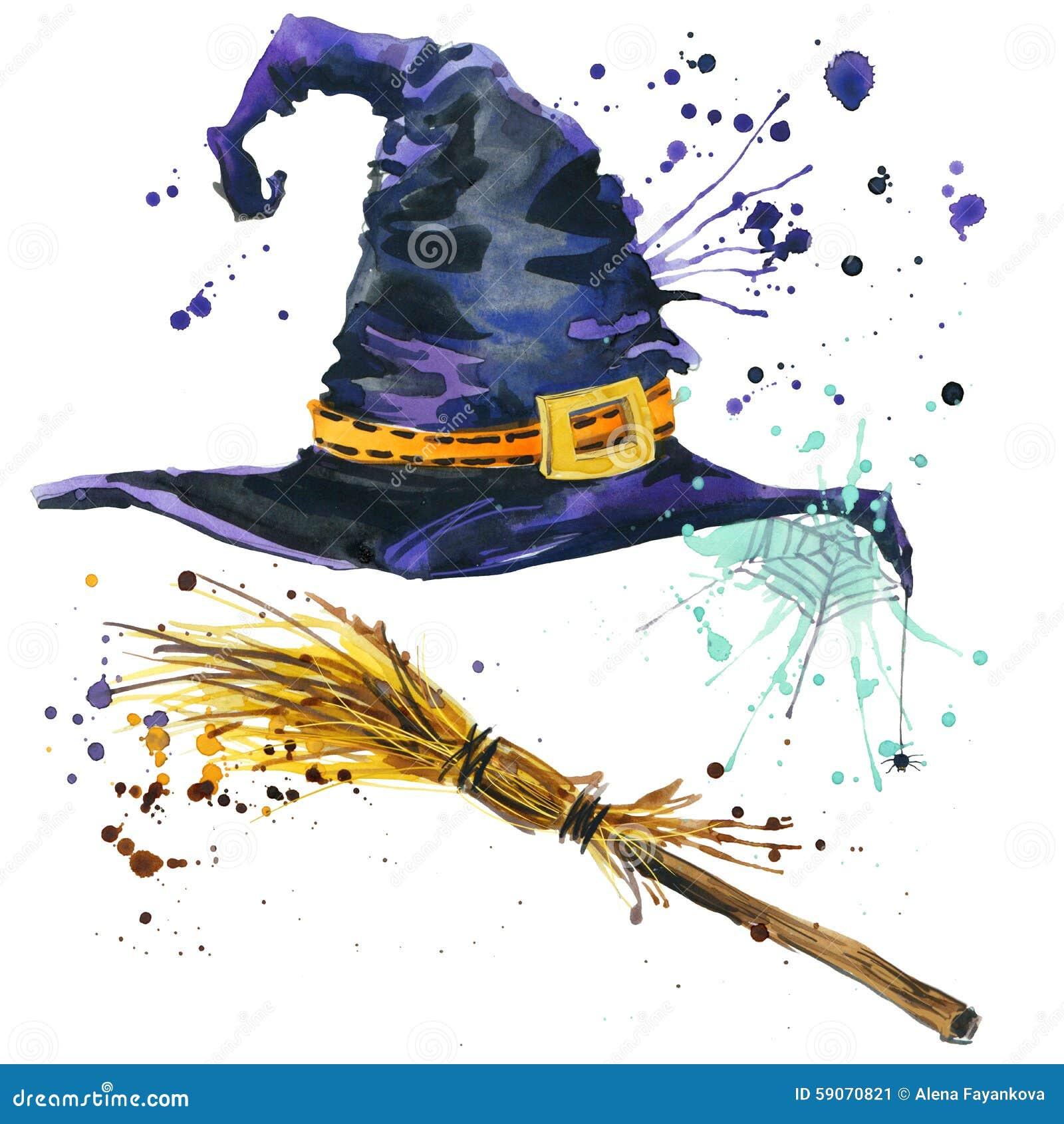 Halloweenowy czarownica kapelusz i miotły czarownica beak dekoracyjnego latającego ilustracyjnego wizerunek swój papierowa kawałk