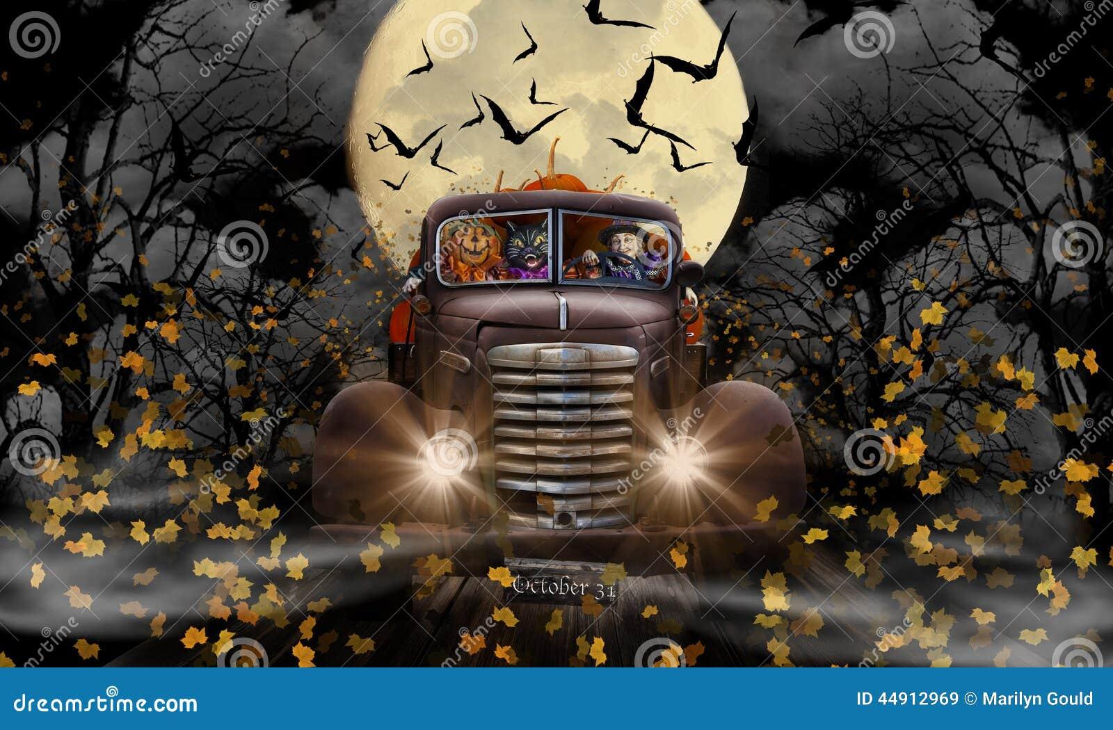 Halloweenowy czarownica kot, bania i