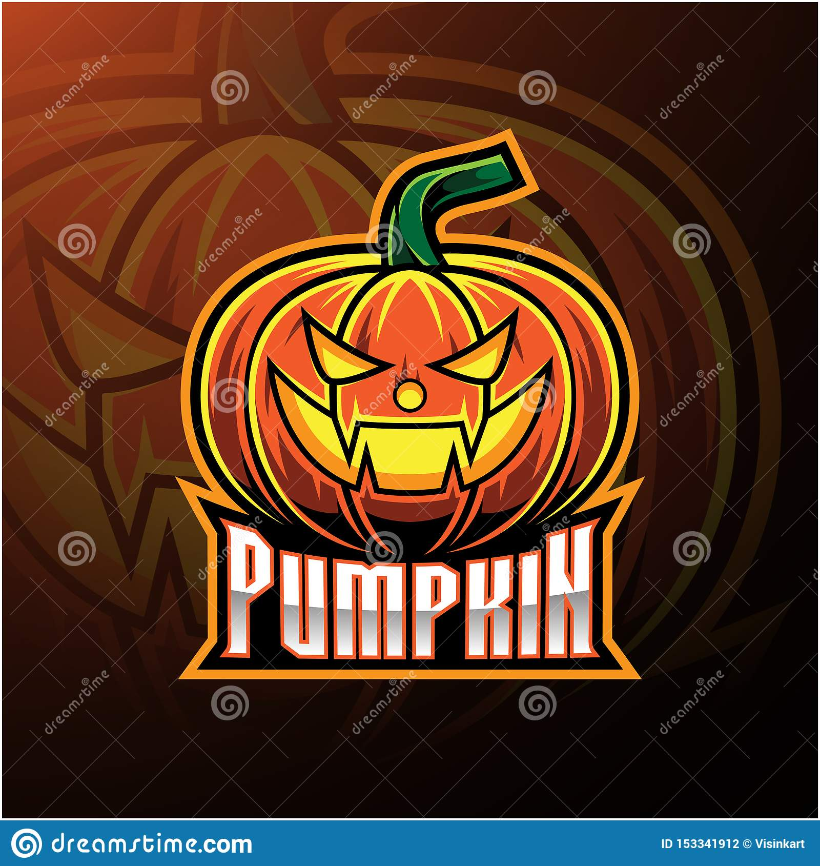 Halloweenowy dyniowy maskotka logo projekt