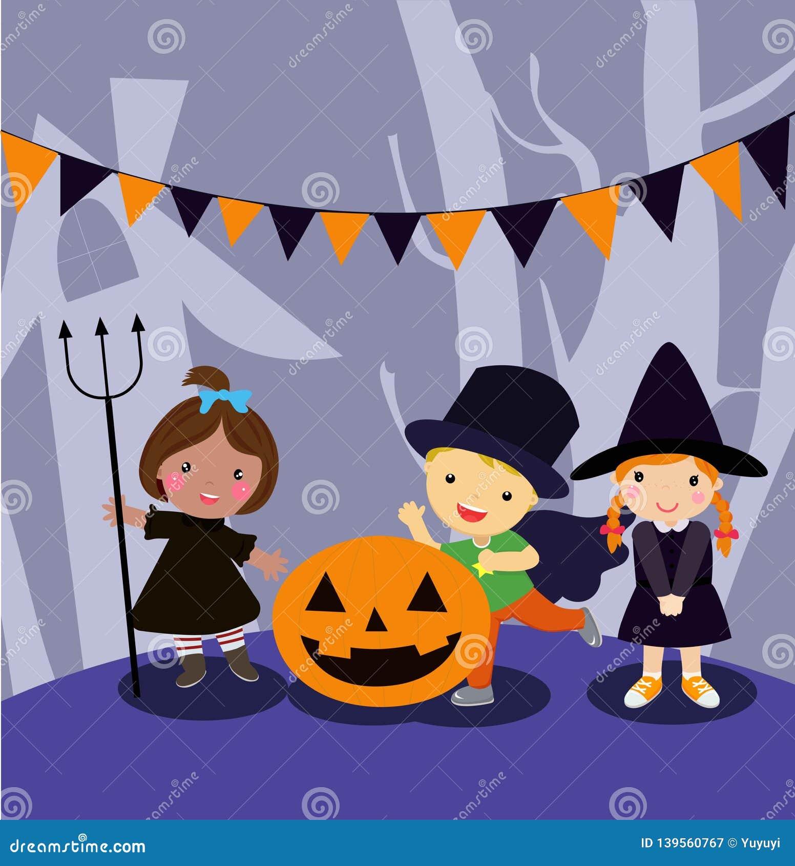 Halloweenowy dzieciaka kostiumu przyj?cie
