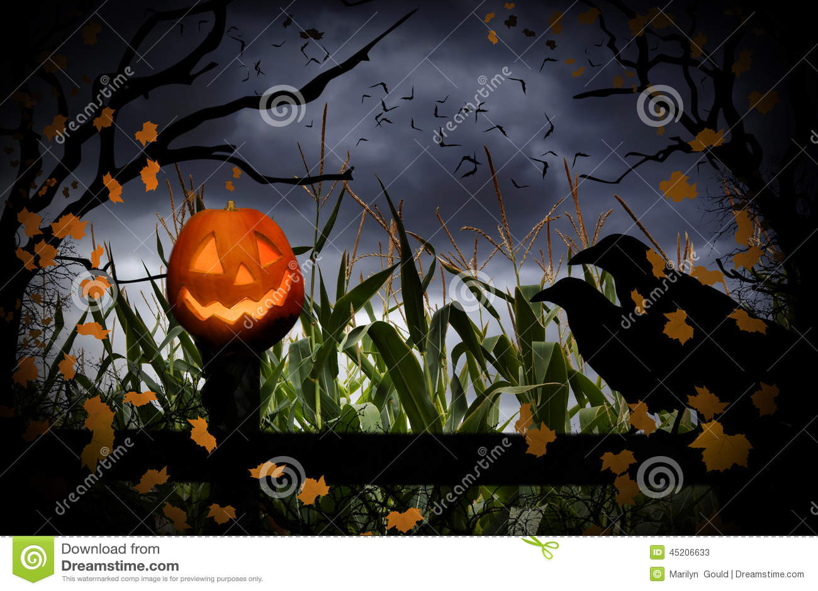 Halloweenowy lampion i wrony