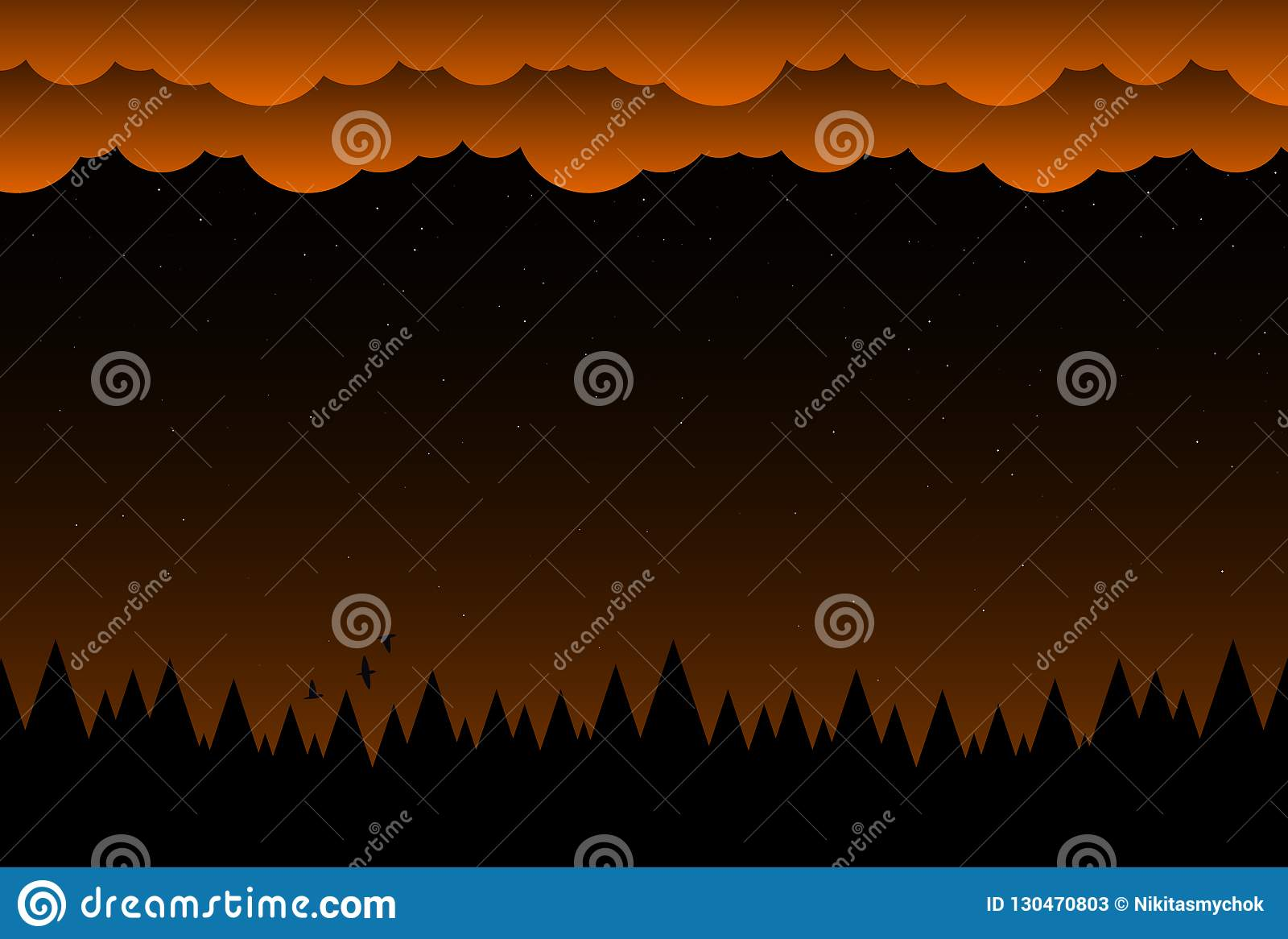 Halloweenowy nocy tło z chmurami i ciemnym lasem