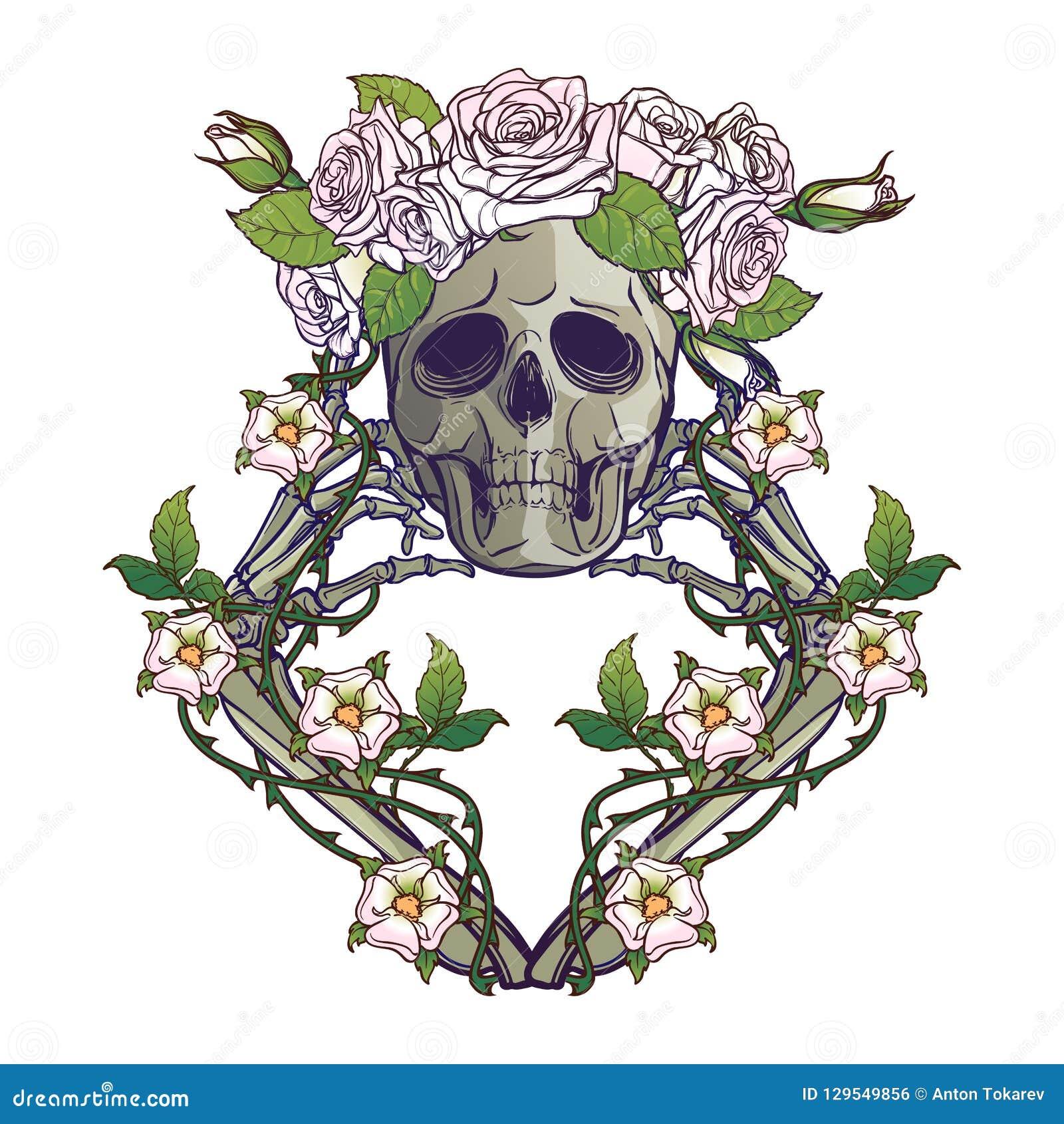 Halloweenowy Santa Muerte Ludzka Czaszka W Róża Wianku I Ręk