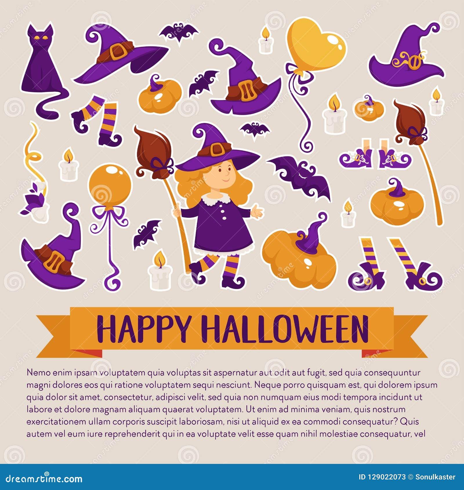 Halloweenowy sztandar z ikonami na Halloweenowym temacie
