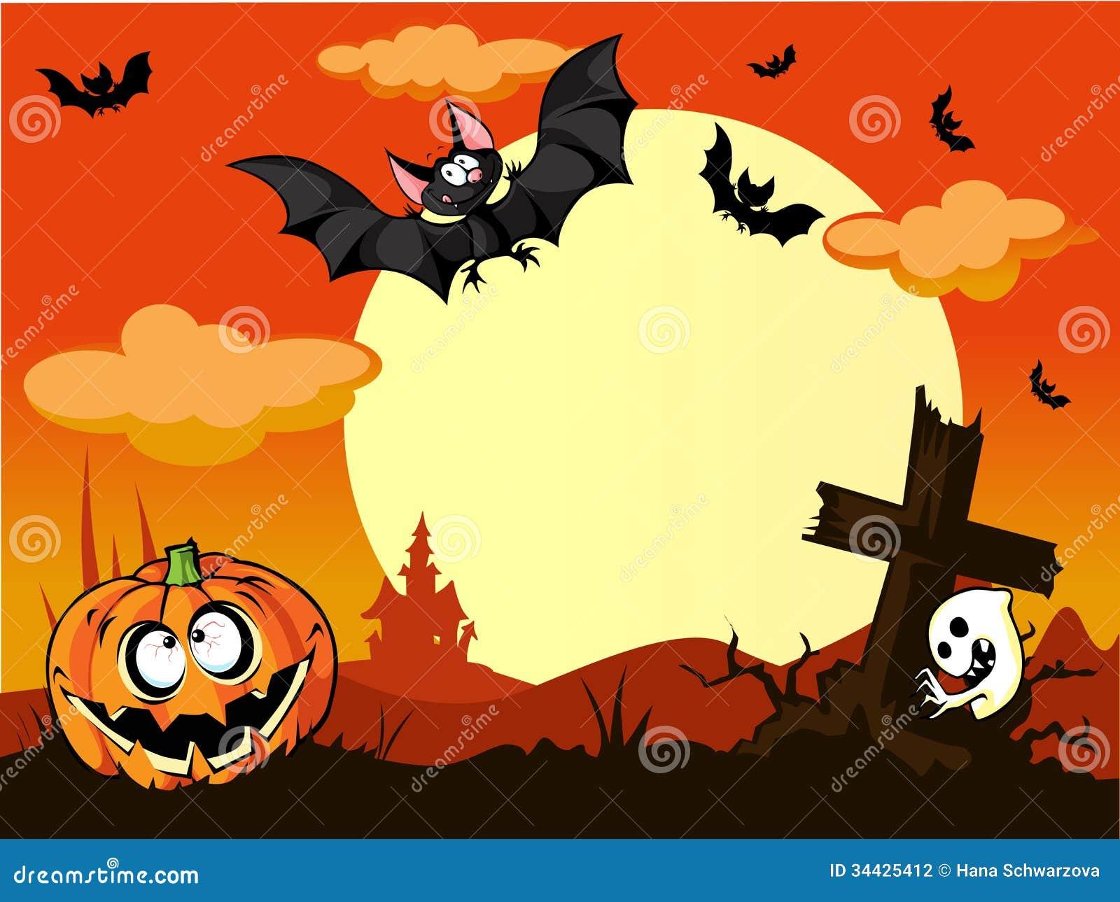 Halloweenowy tło z banią w trawie, gr