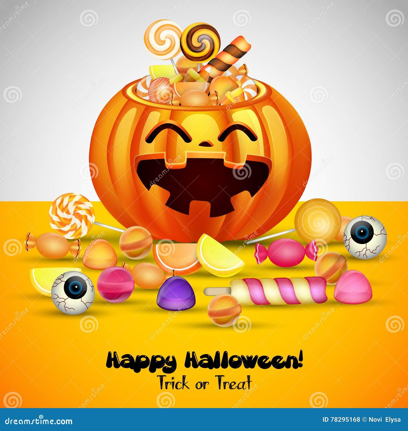 Halloweenowy tło z baniami kosz i cukierki