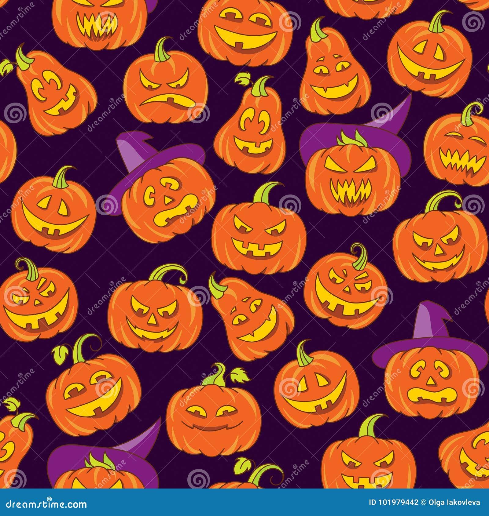 Halloweenowych strasznych bani wektorowy bezszwowy wzór Ciemny purpurowy tło z pomarańczowymi śmiesznymi twarzami w doodle stylu