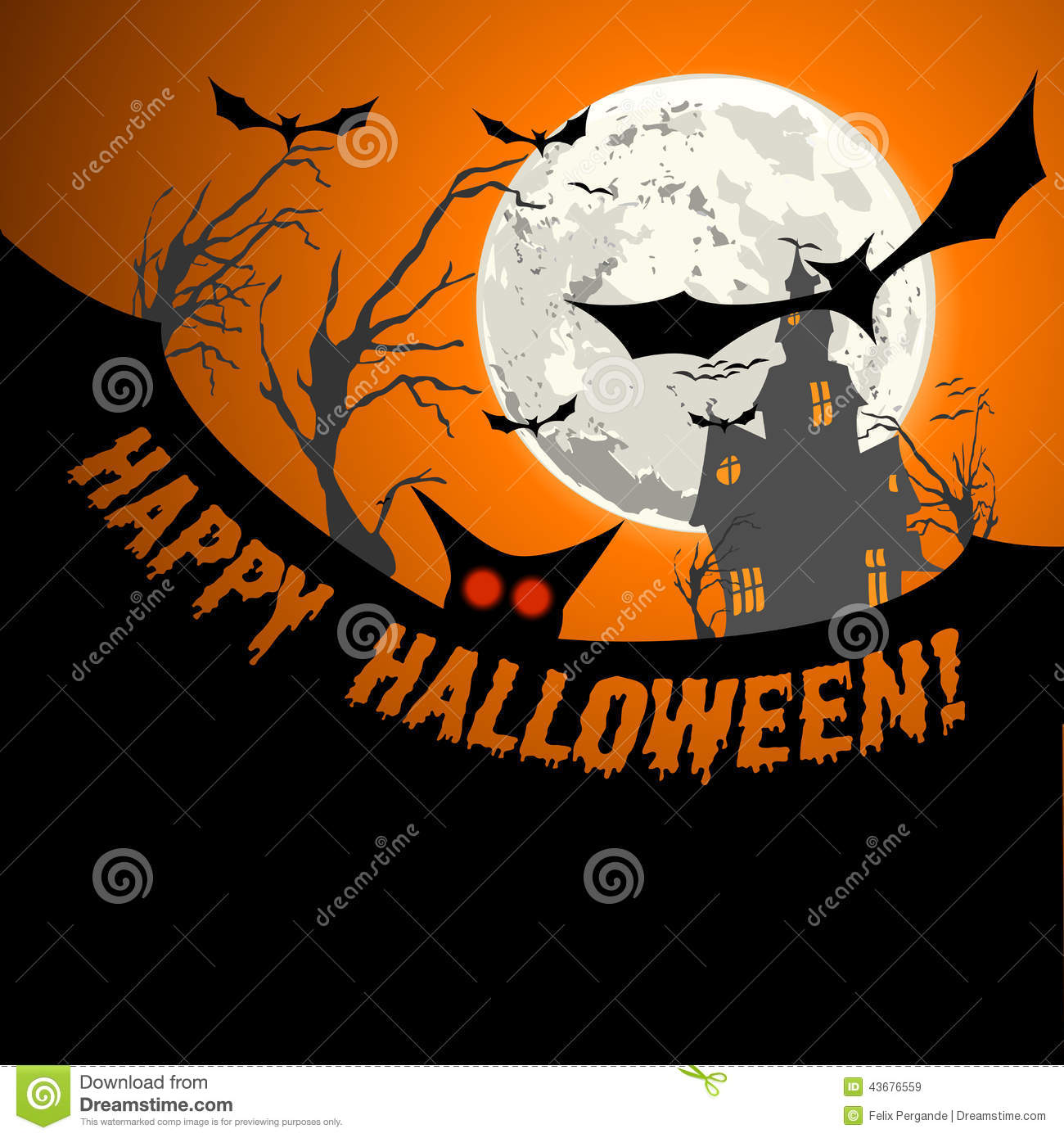 Hallowen Invitation Background Stock Illustration
