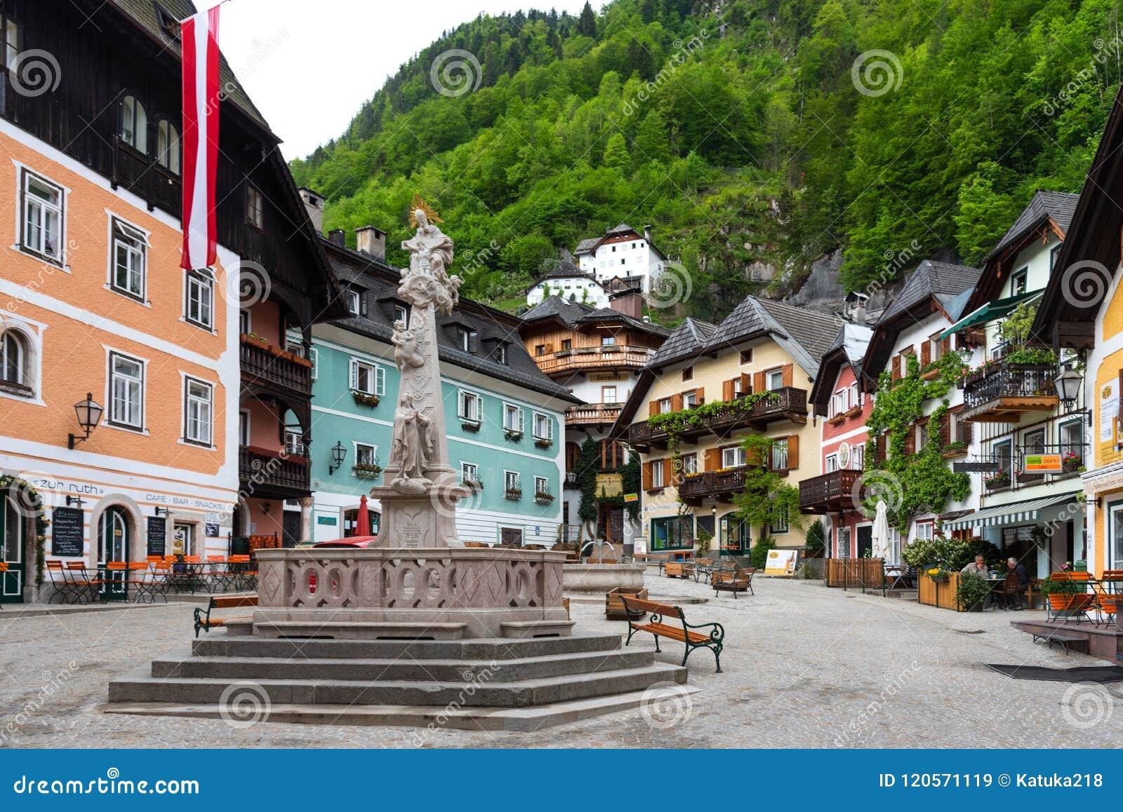 Hallstatt, Austria - May 2, 2018: Central Square in Hallstatt, Austria