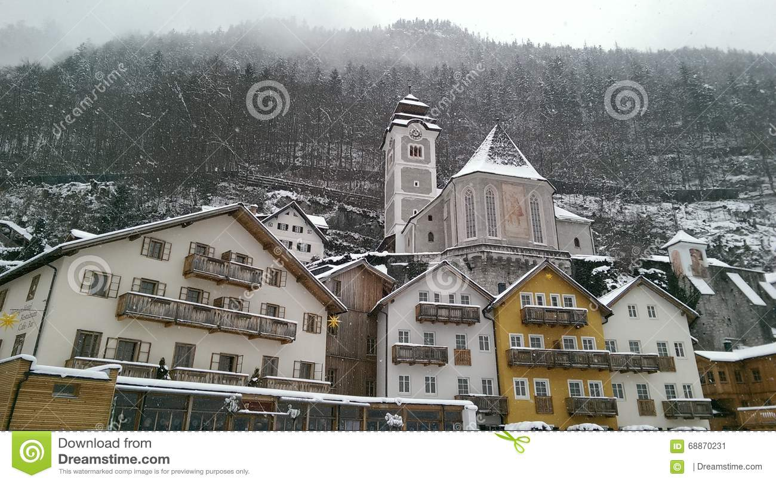 Hallstatt in Snow view, Austria