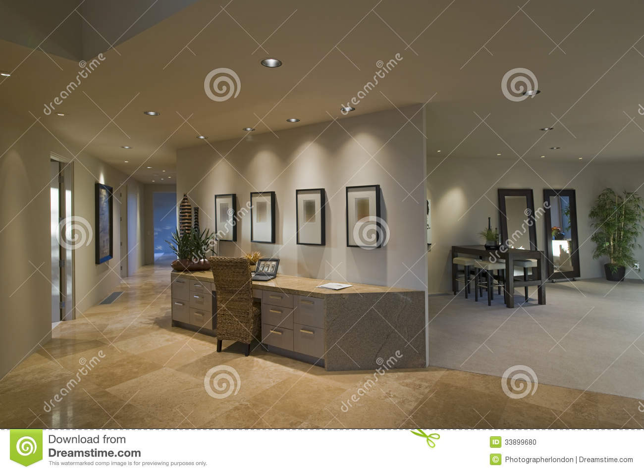 Excellent Hallway Along Partition Desk In Luxury Home Stock Photo Image Largest Home Design Picture Inspirations Pitcheantrous