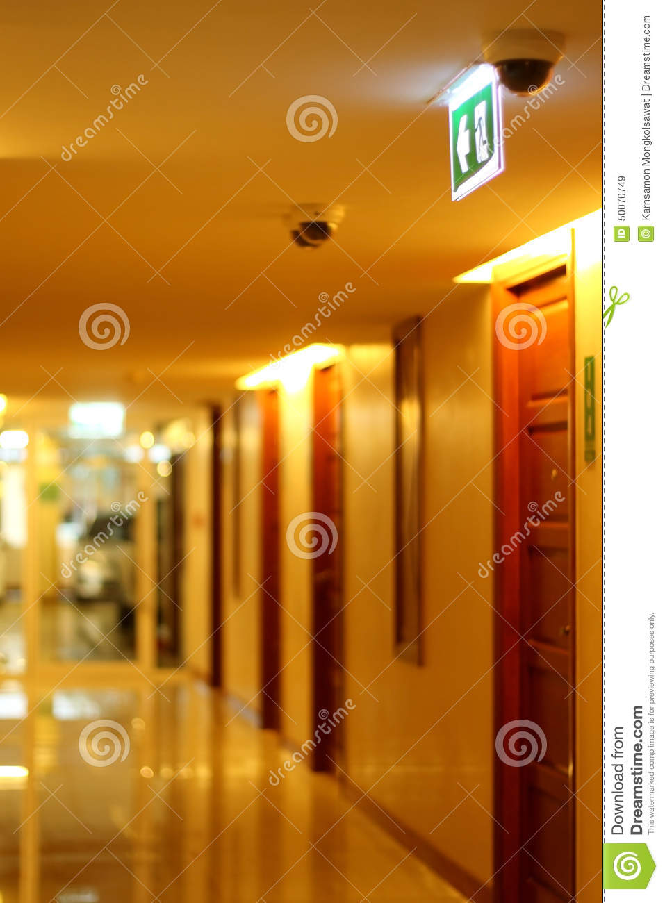 Hallway Of Apartment Building In Yellow Tungsten Light Stock