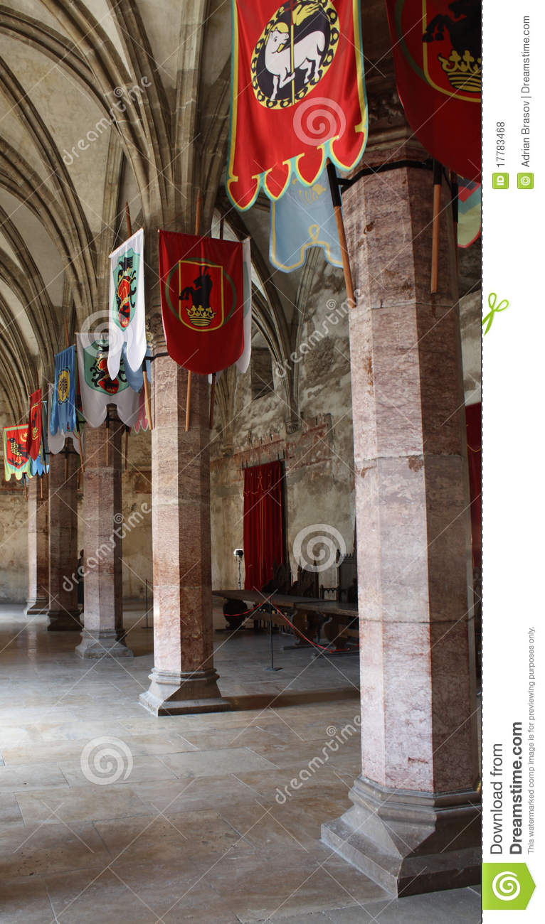 Hallway With Flags In A Medieval Castle Stock Photo