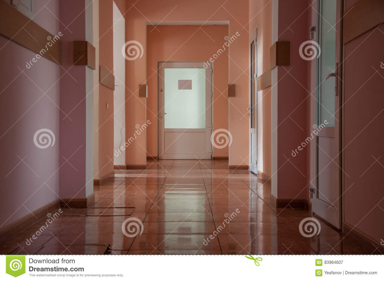 Hallway in a hospital at warm colors