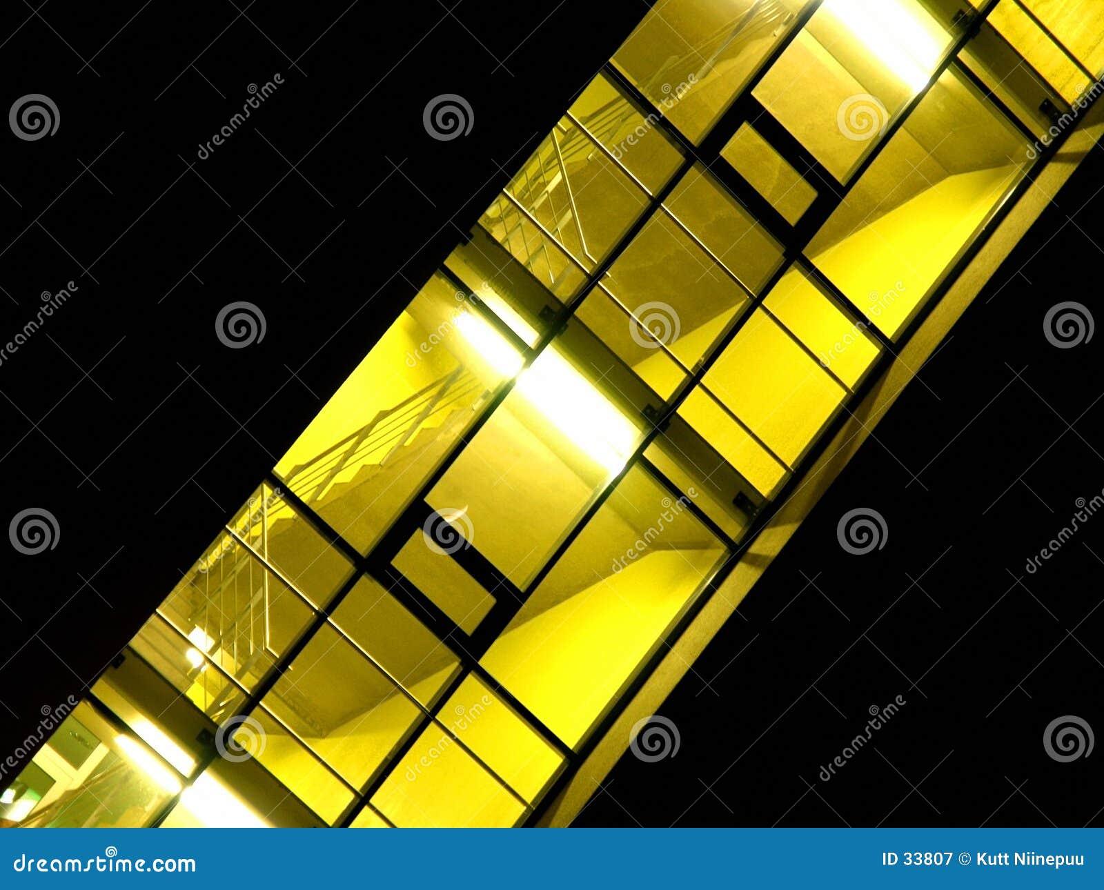 Hallway illuminated skewed