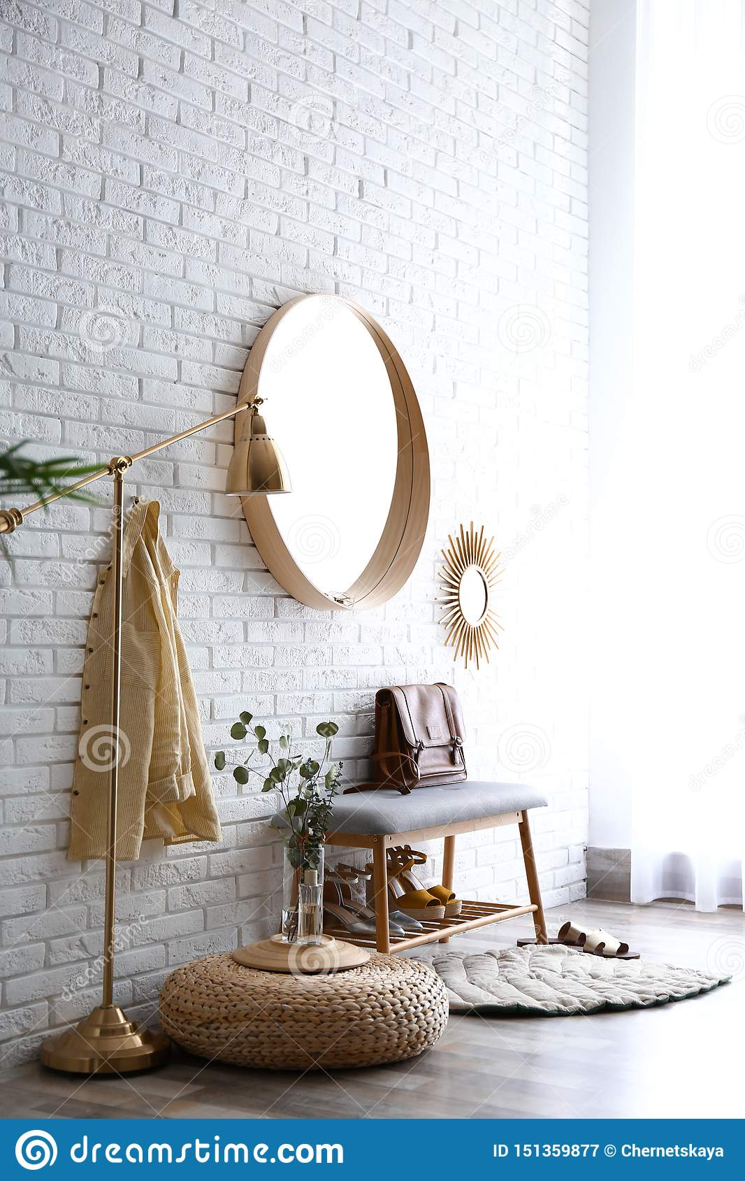 Hallway Interior With Big Round Mirror And Shoe Storage Bench Stock Image Image Of Entrance Comfort 151359877
