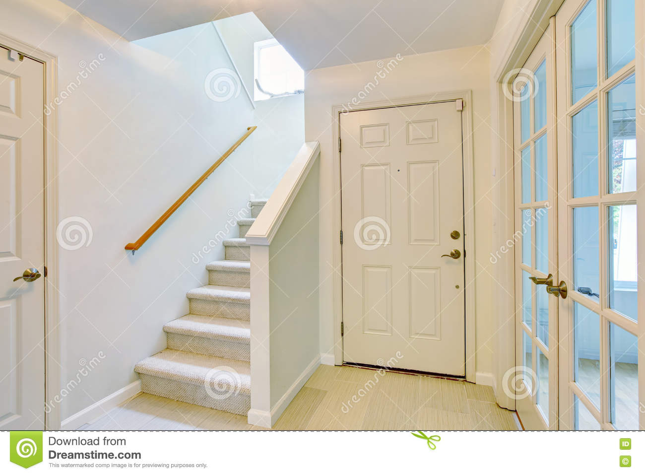 Download Hallway Interior In Light Tones With Hardwood Floor And Carpet  Stairs Stock Photo   Image