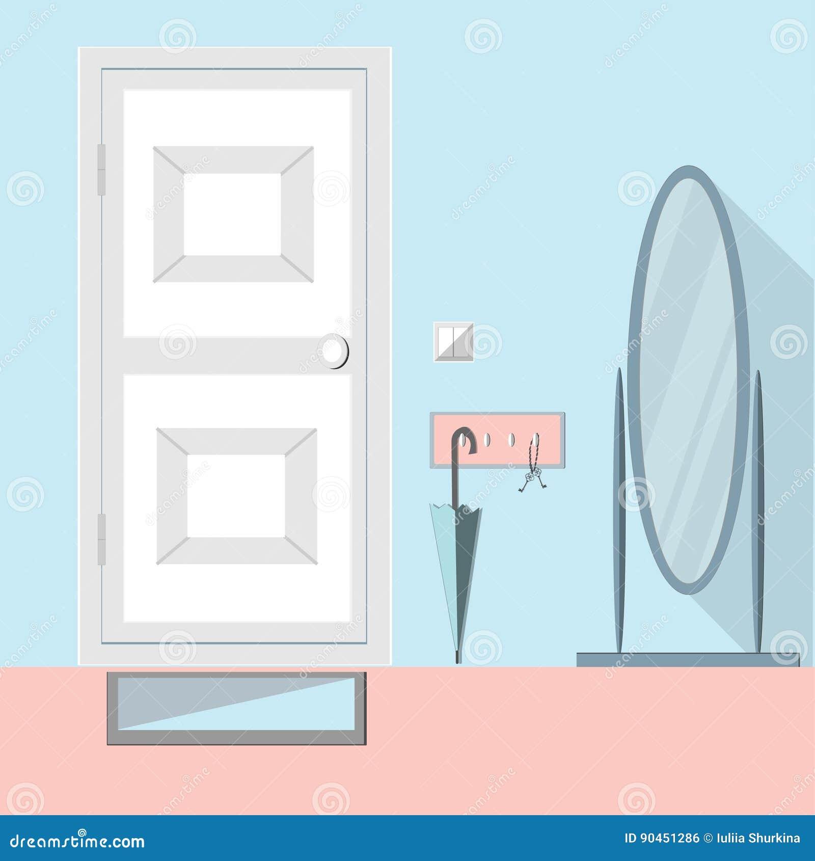 Hallway Modern Interior With Mirror Door Stock Vector