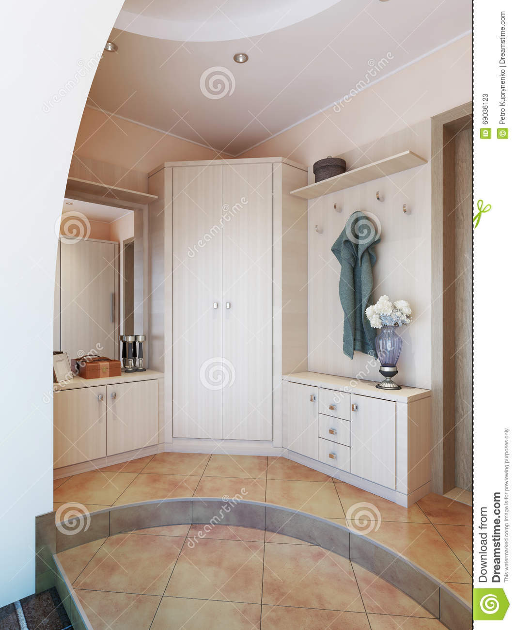 hallway in modern style with hangers a mirror dressing table an stock illustration image. Black Bedroom Furniture Sets. Home Design Ideas