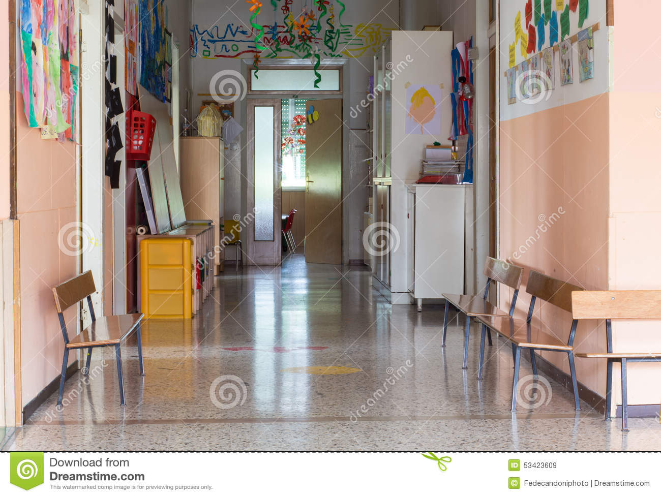 Hallway of a nursery for children