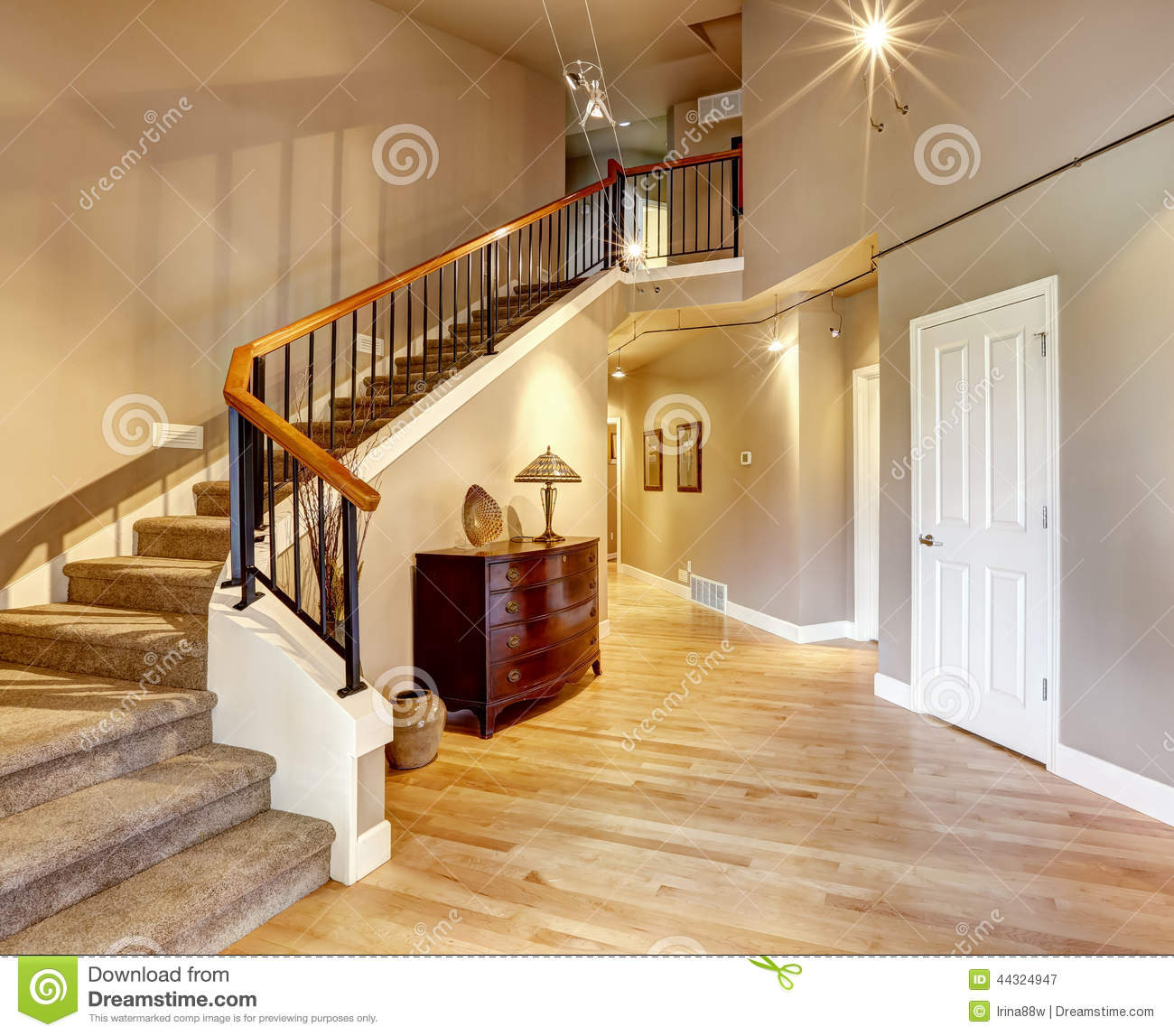 Hallway With Staircase In Luxury House Stock Photo Image