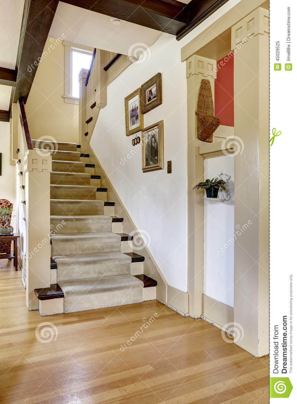 Hallway With Staircase In Old American House Stock Photo