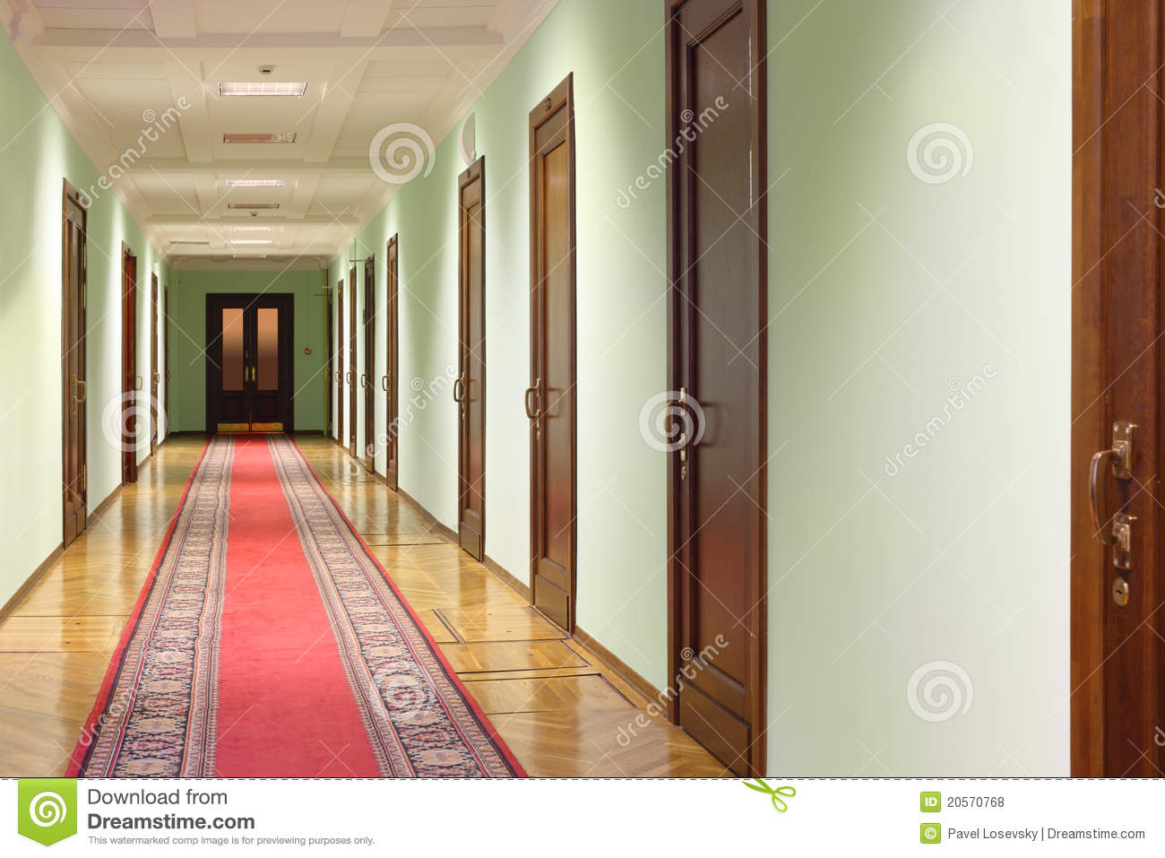Long Foyer Xl : Hallway wit wood doors stock photo image of direct