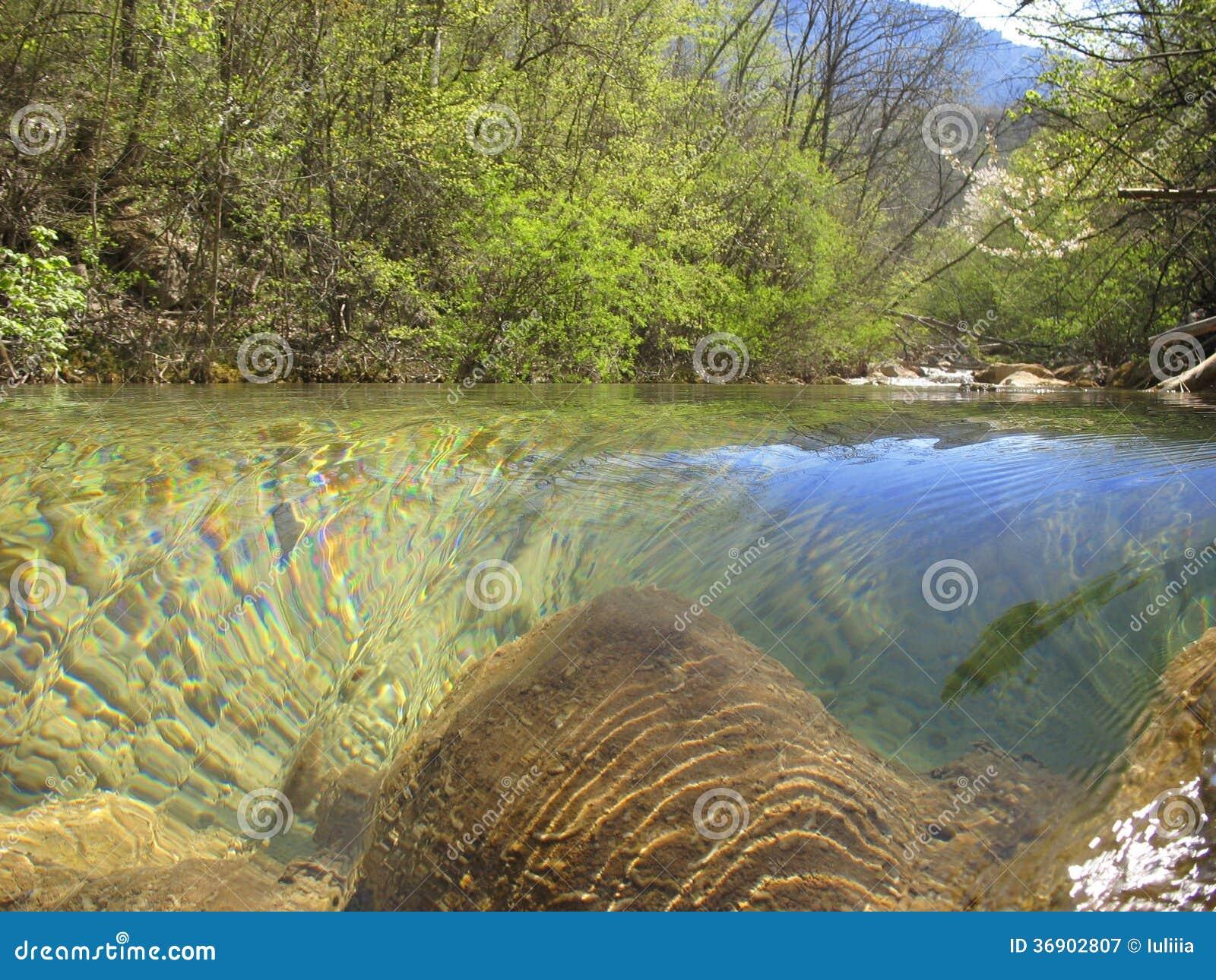 Halna rzeka w wiośnie